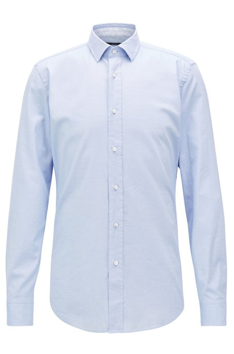 6be8cdbaf4b2 Micro-patterned slim-fit shirt in washed stretch cotton, Light Blue