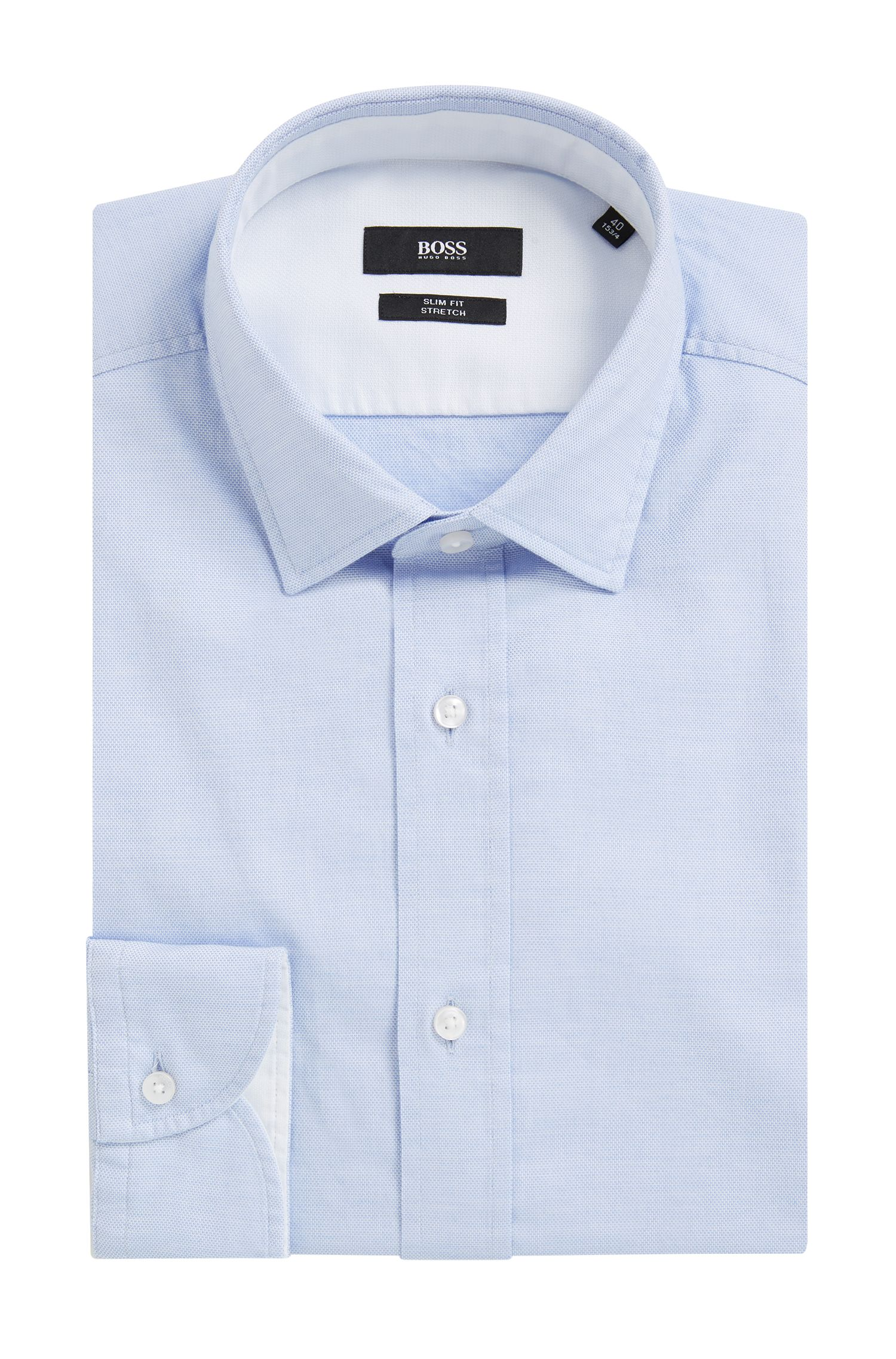 Micro-patterned slim-fit shirt in washed stretch cotton