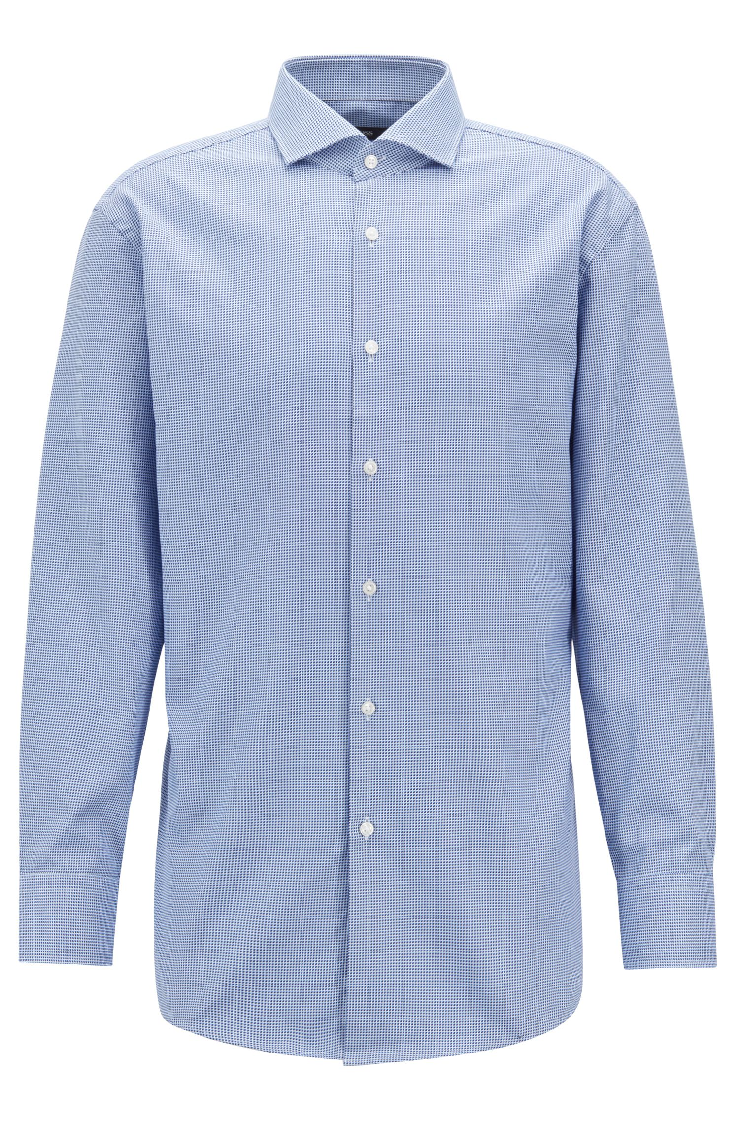 Sharp-fit shirt with three-dimensional micro structure, Light Blue