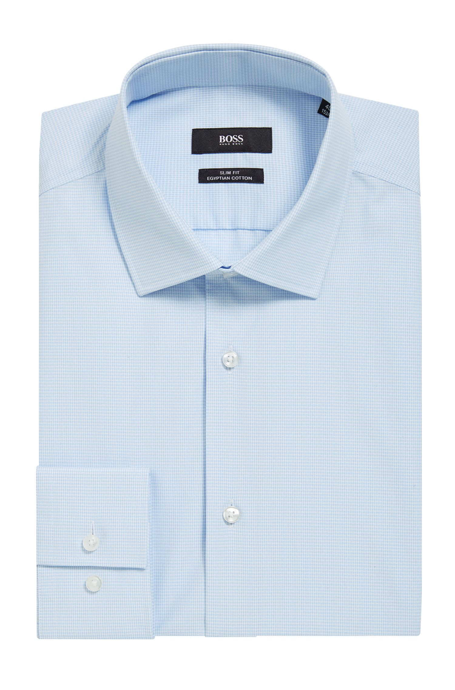 Slim-fit shirt in long-staple Egyptian cotton, Light Blue
