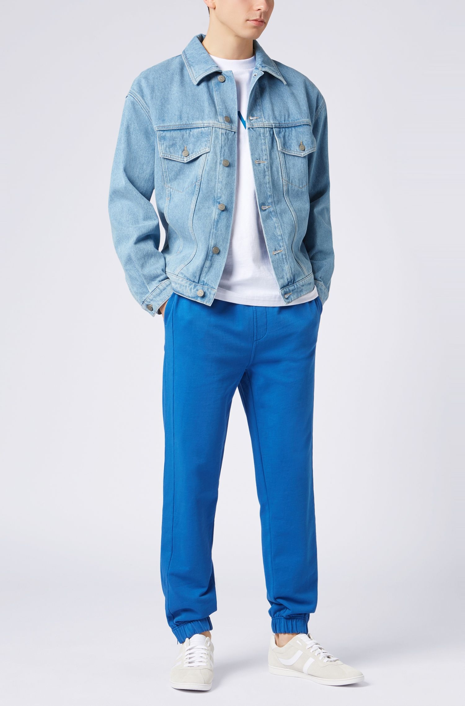 French-terry cuffed pants in a regular fit