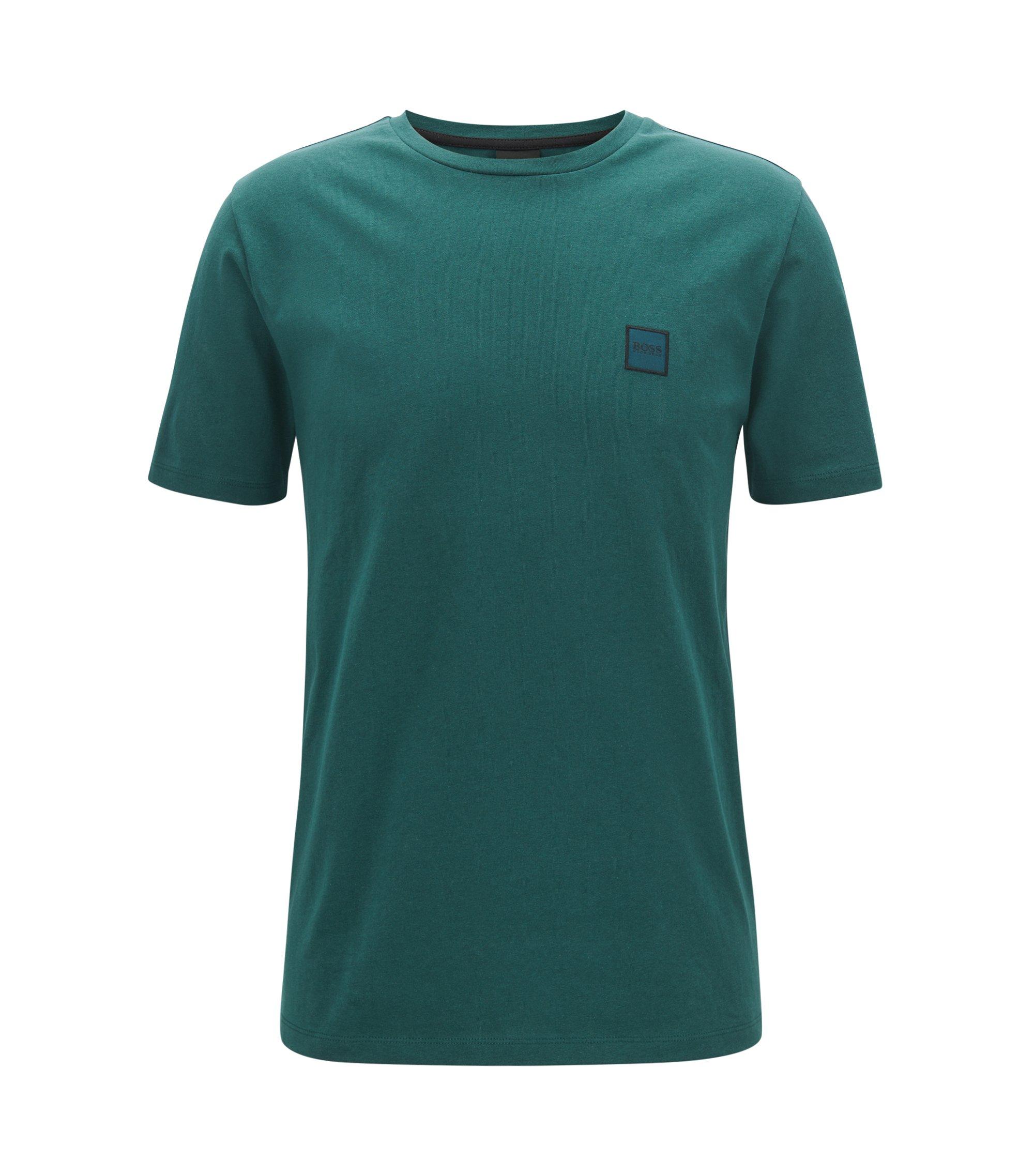 Crew-neck T-shirt in single-jersey cotton, Dark Green