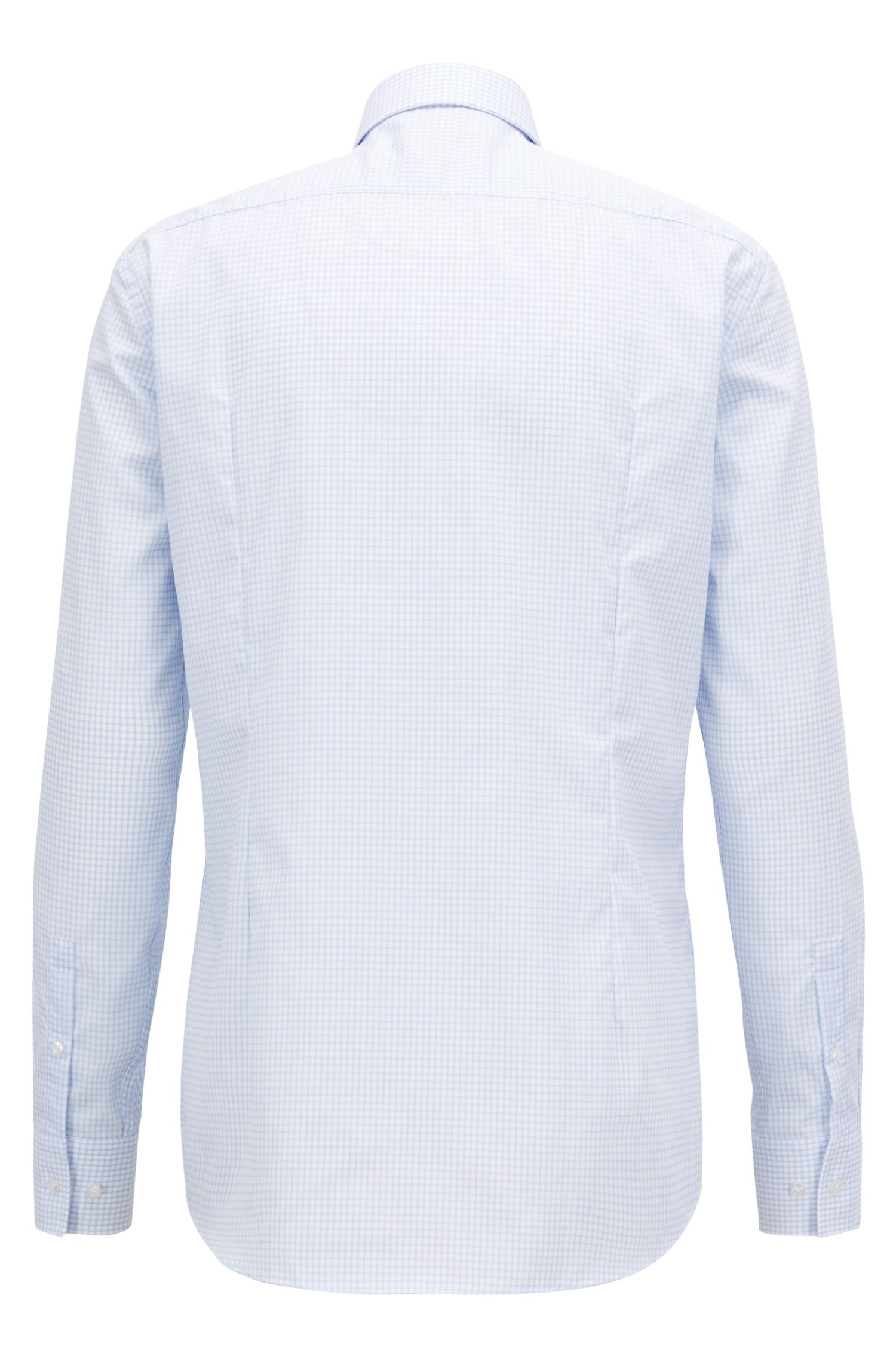Swiss-made shirt in cotton with non-iron finishing, Light Blue