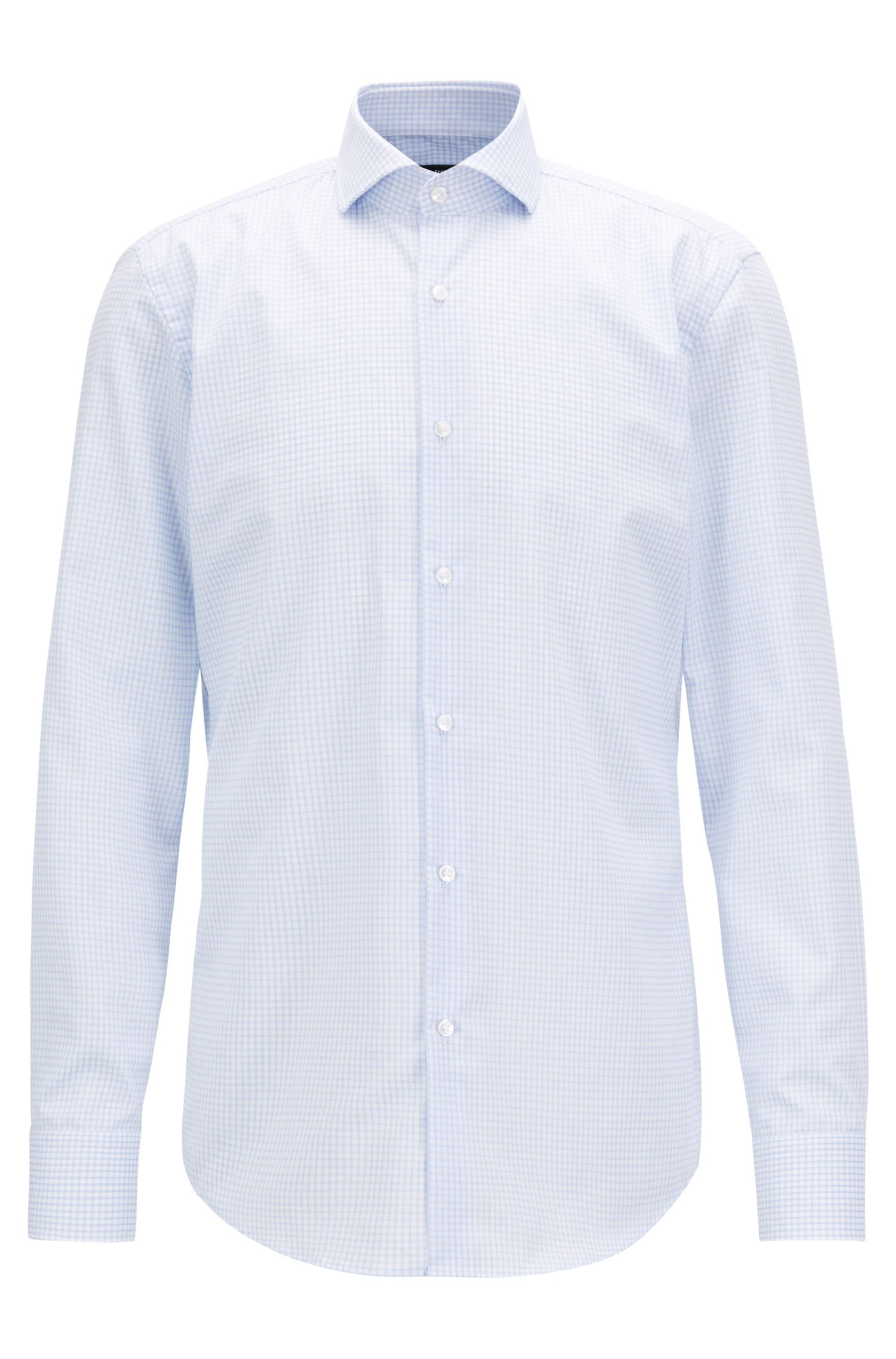 Swiss-made shirt in cotton with non-iron finishing
