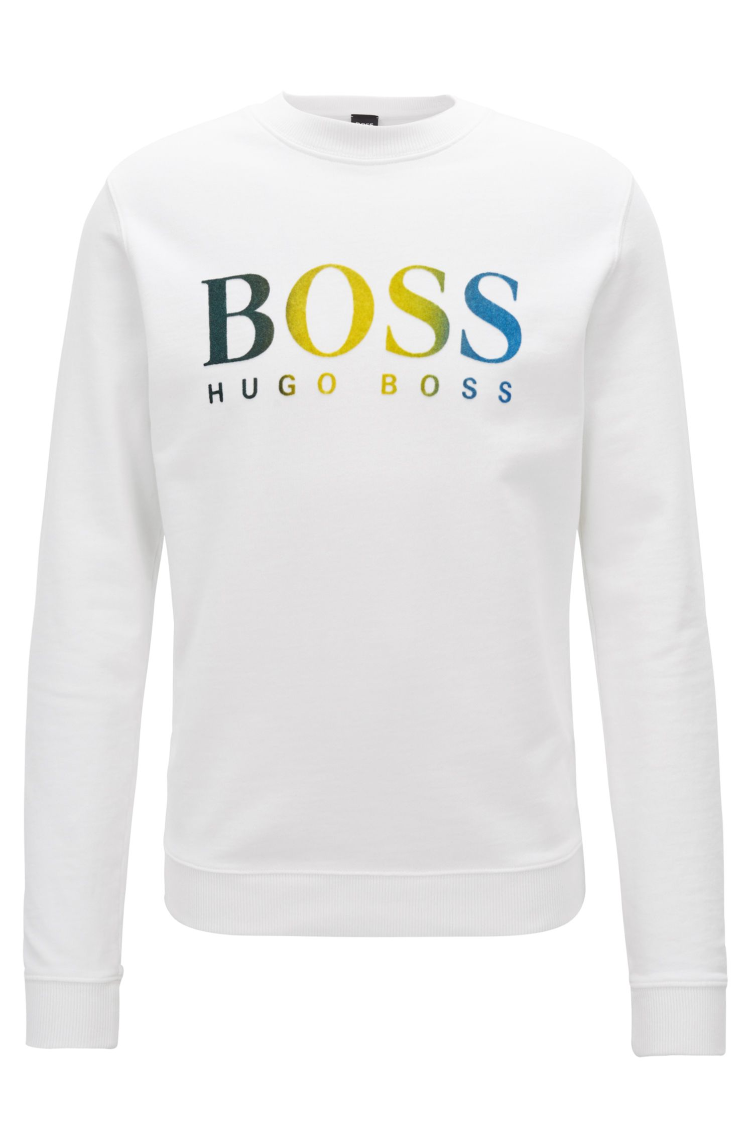 French-terry sweatshirt with multicolored dégradé logo print, White