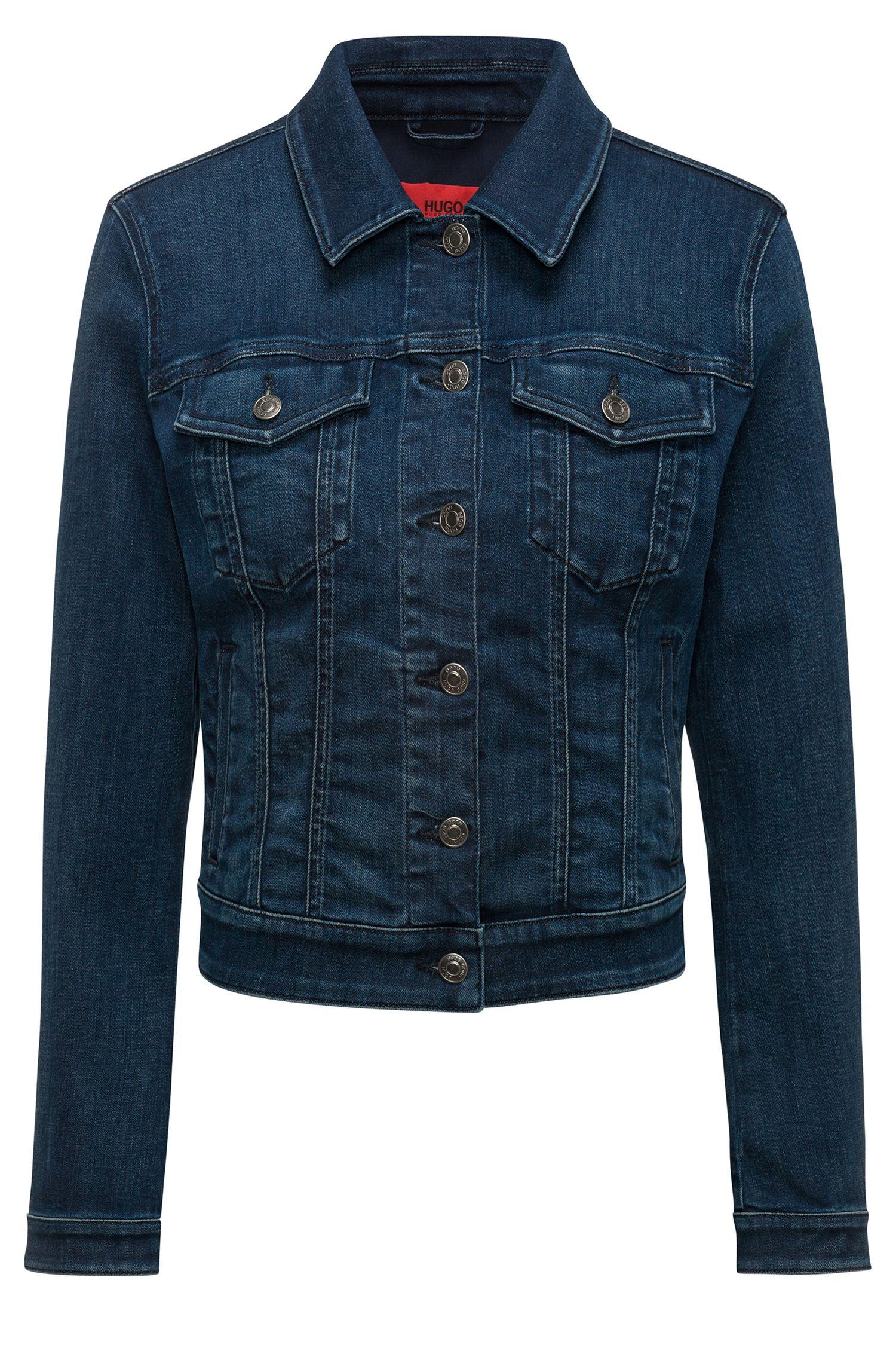 Slim-fit cropped denim jacket in mid blue, Blue