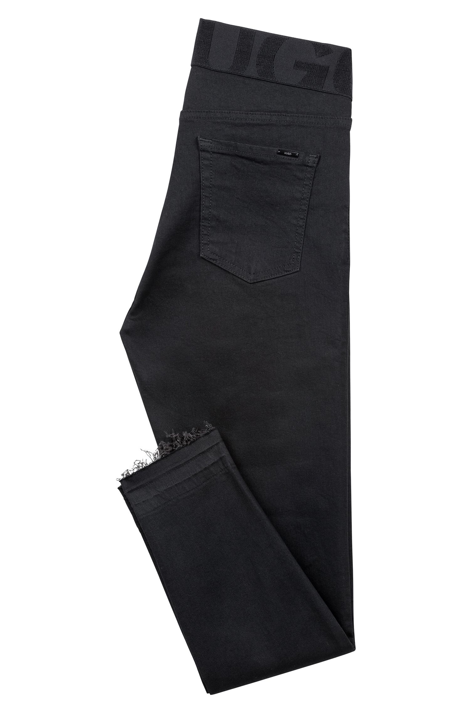 Black skinny-fit jeans with elastic logo waistband, Black