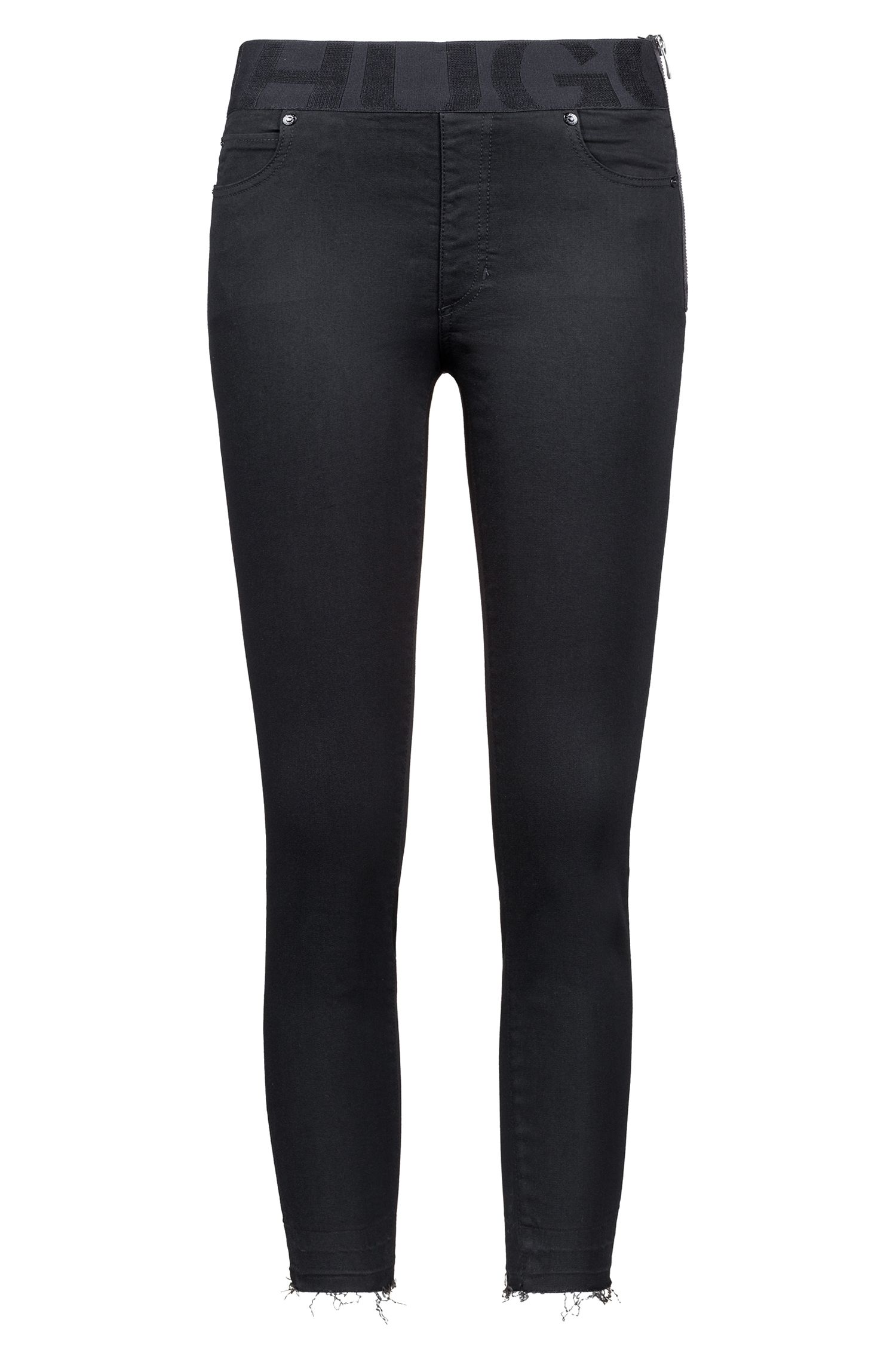 Black skinny-fit jeans with elastic logo waistband