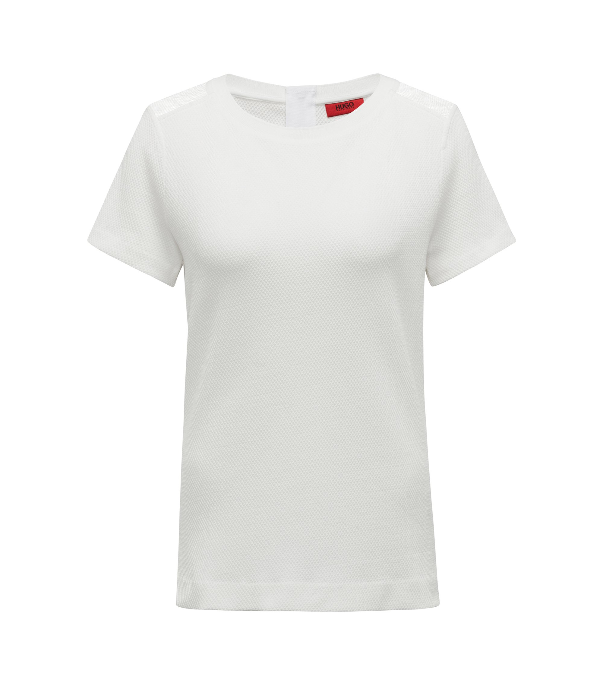 Structured jersey T-shirt with mesh-insert shoulders, Natural