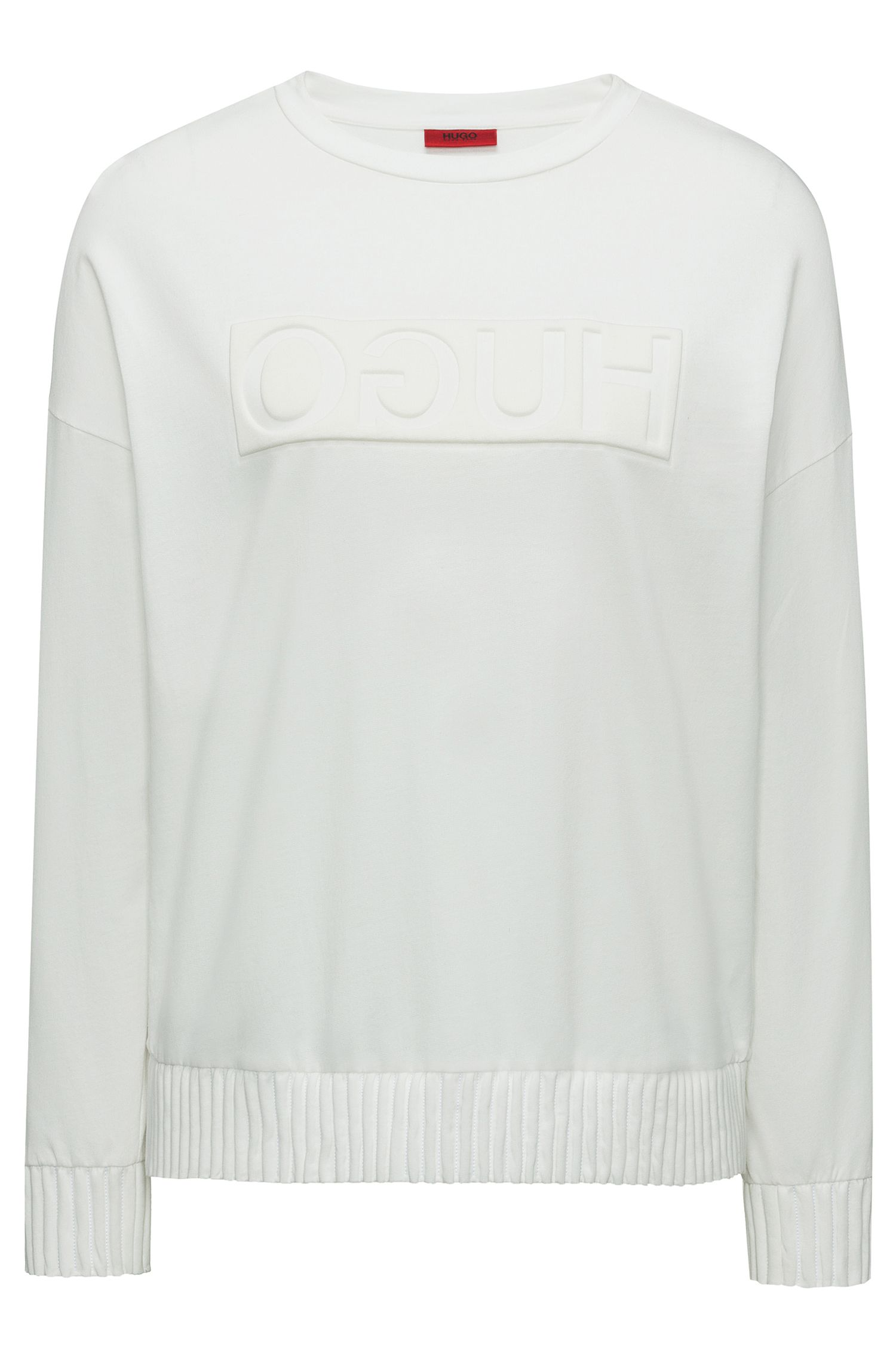 Relaxed-fit sweater with embossed reversed logo