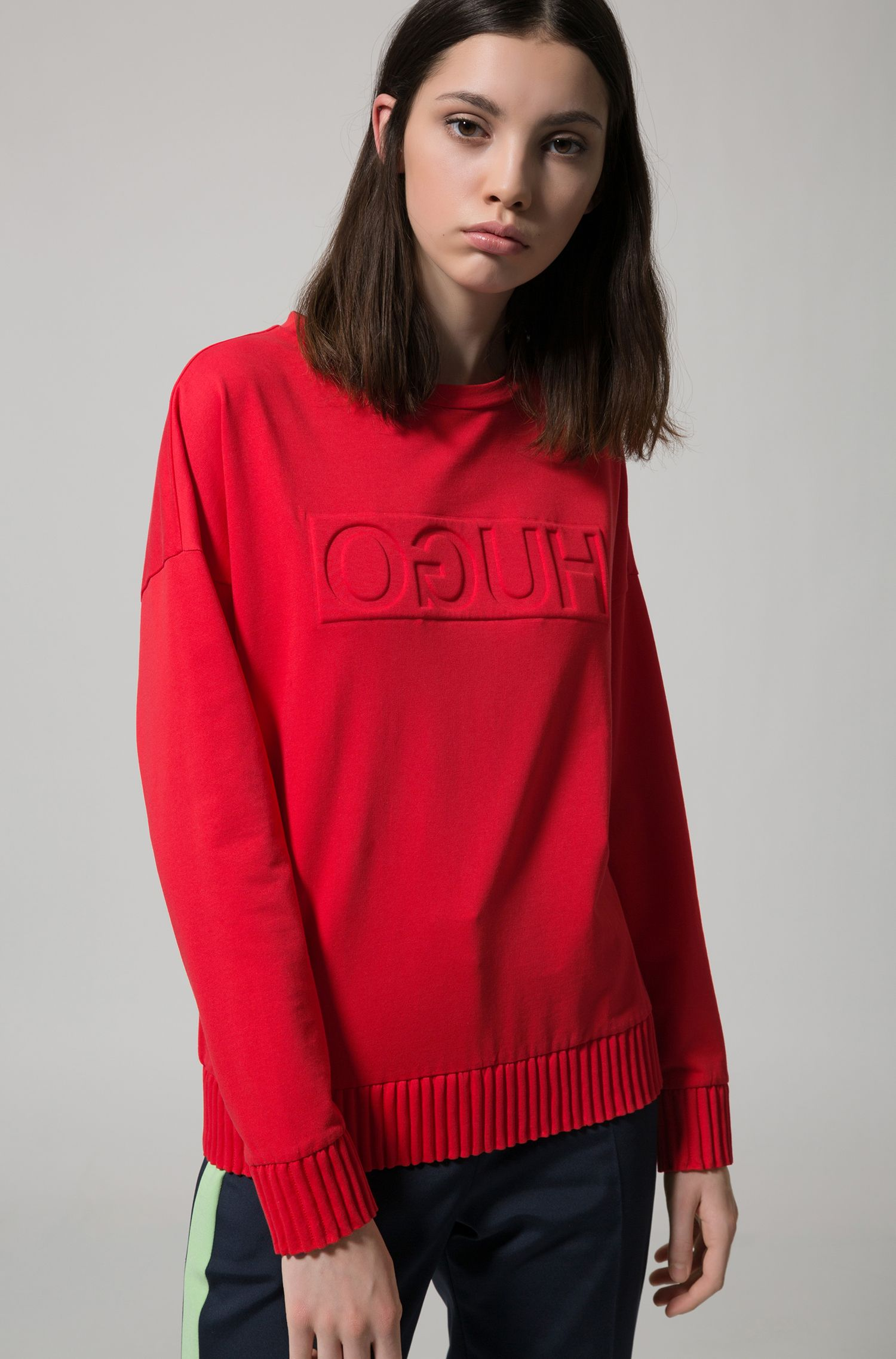 Relaxed-fit sweater with embossed reversed logo, Red