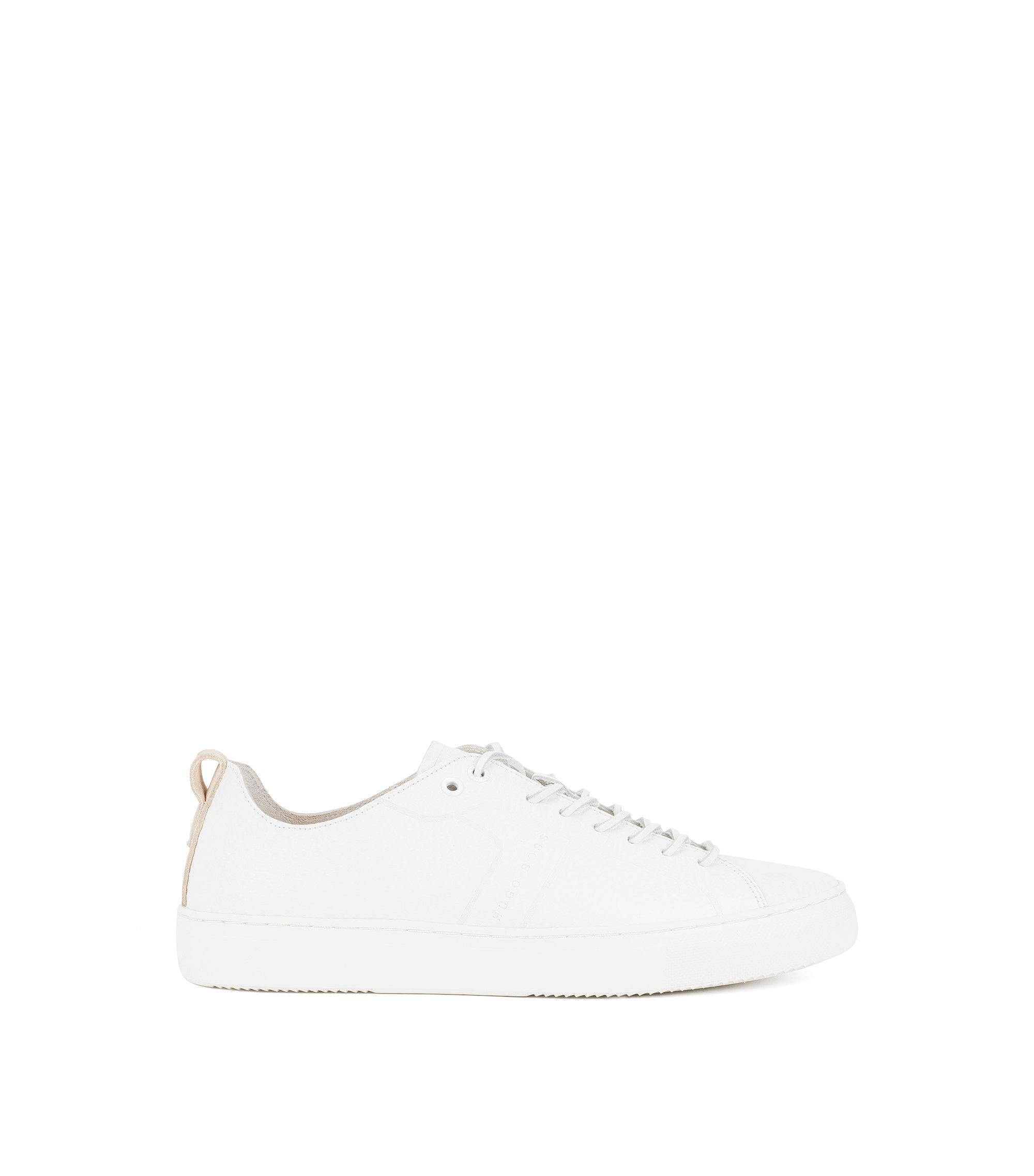 Tennis-style sneakers in tumbled calf leather, White