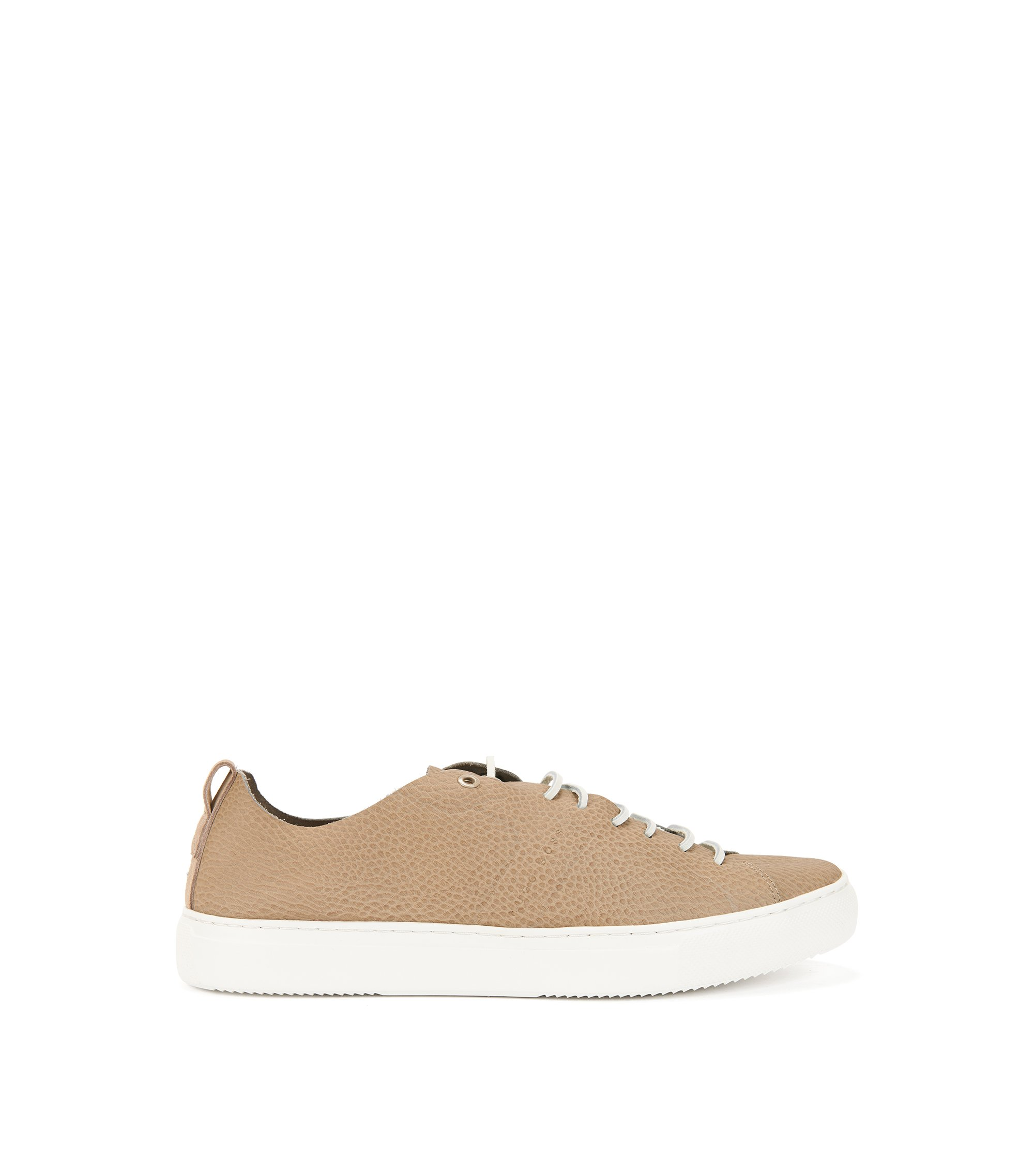 Tennis-style sneakers in tumbled calf leather, Beige