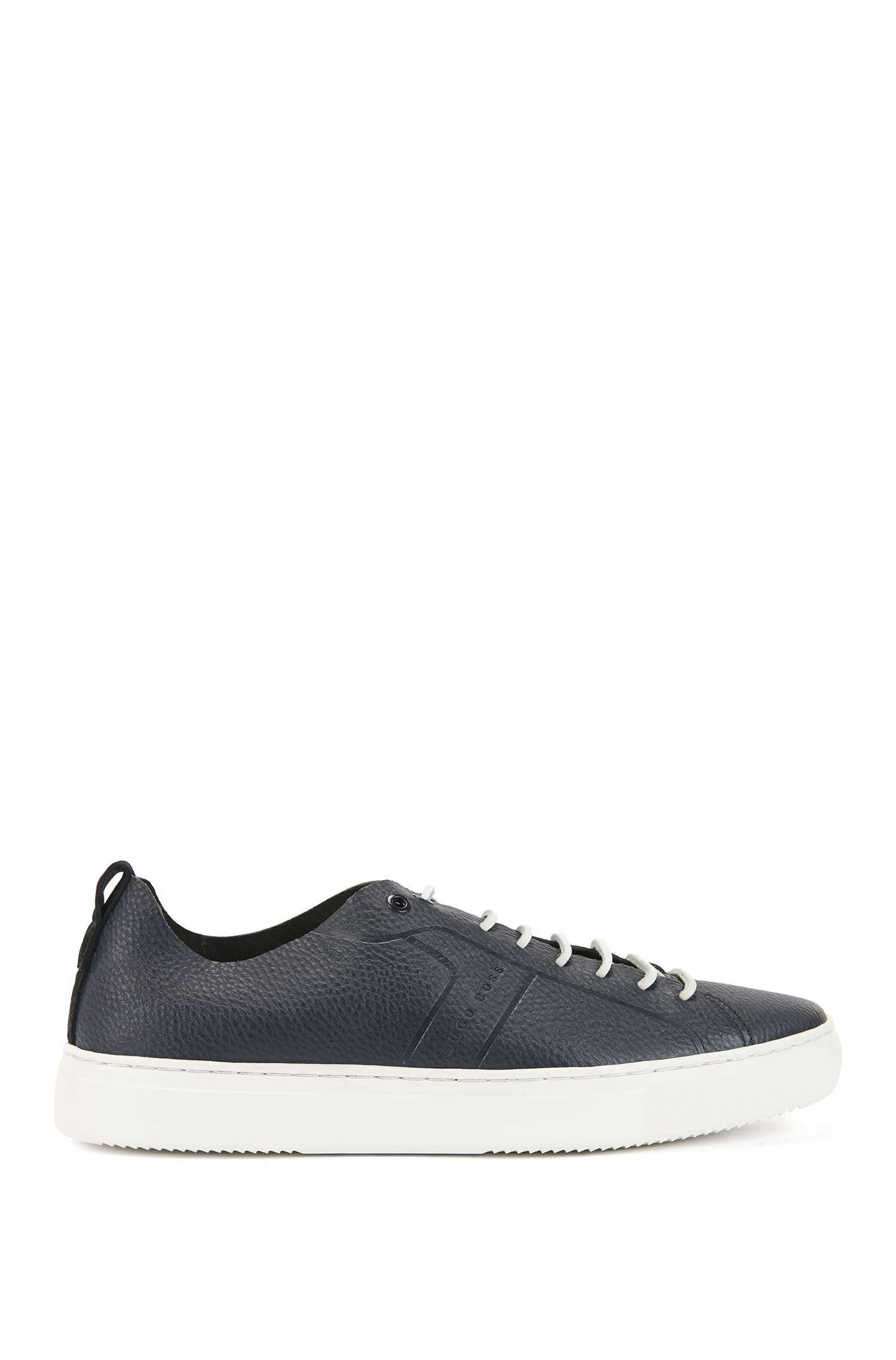 Tennis-style sneakers in tumbled calf leather, Dark Blue