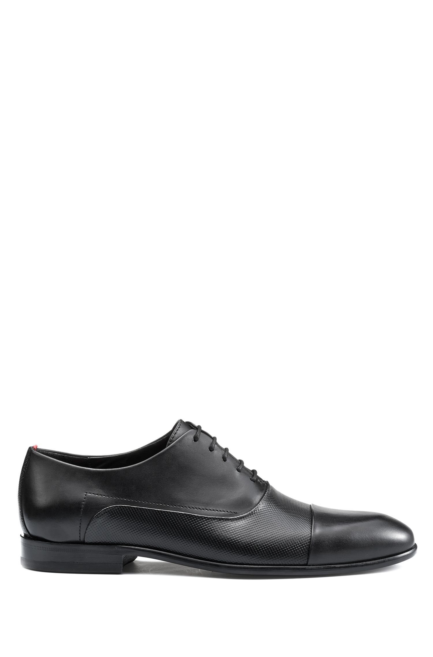 Oxford shoes in calf leather with printed vamp, Black