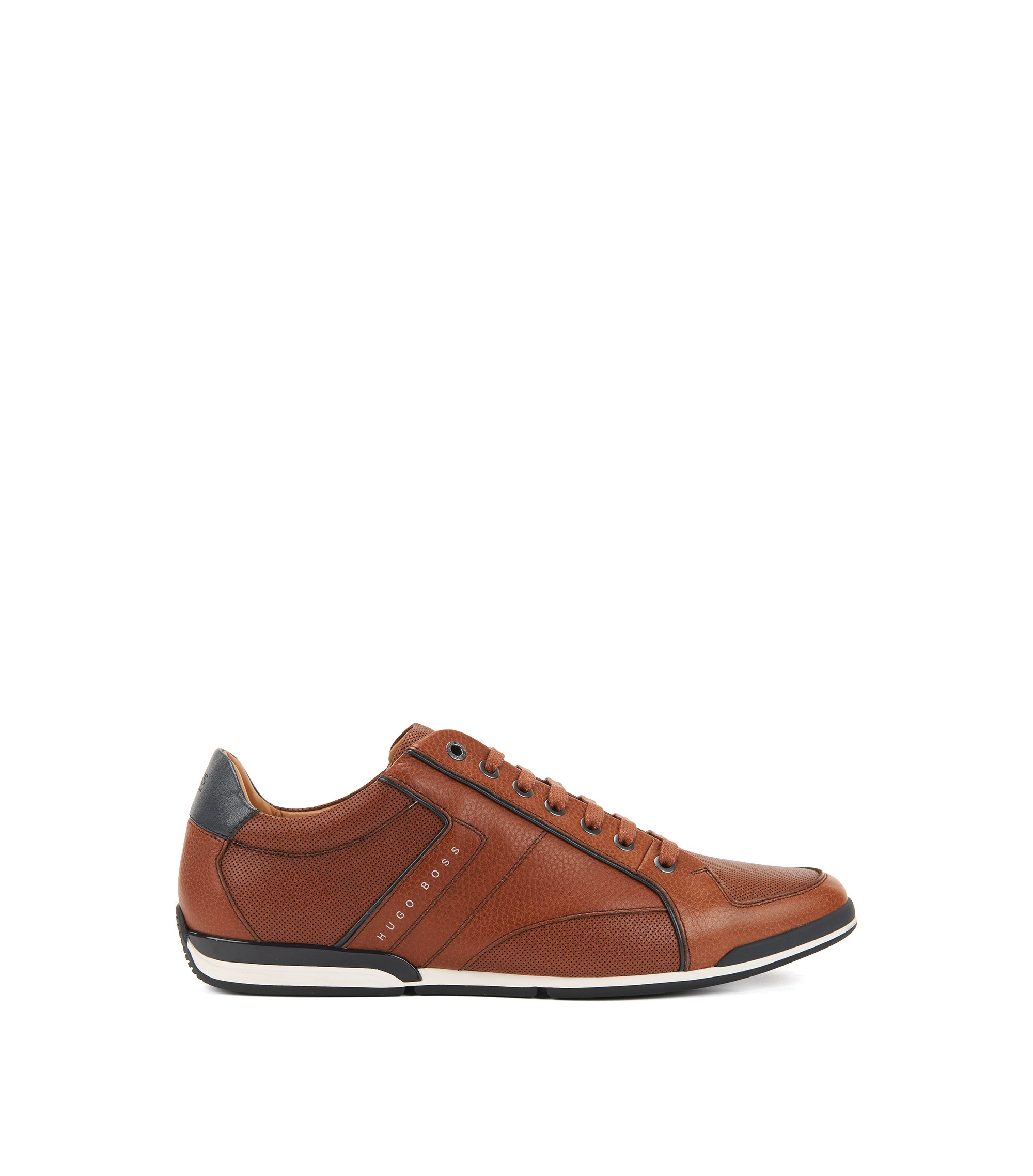 Low-top sneakers in tumbled leather with contrast detail, Brown