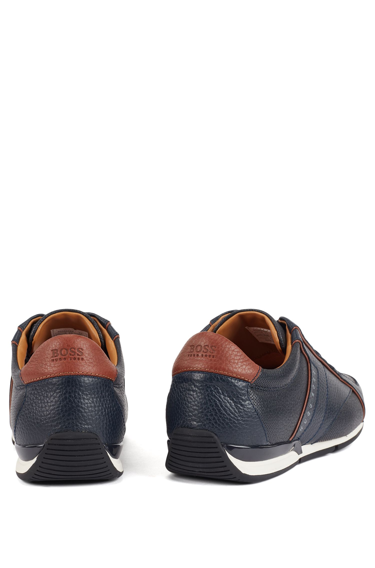Low-top sneakers in tumbled leather with contrast detail, Dark Blue