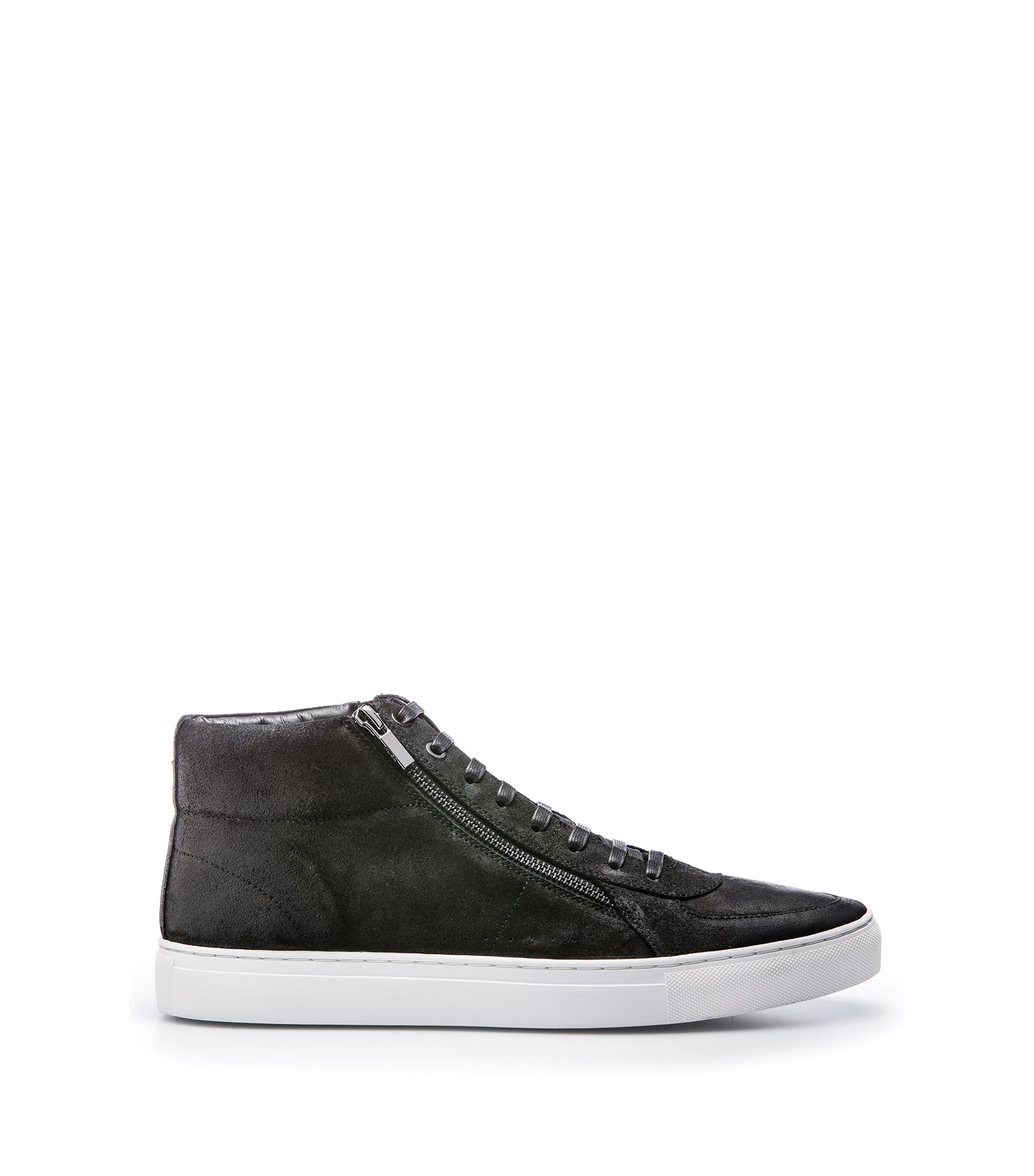 High-top sneakers in waxed suede with double zip, Black