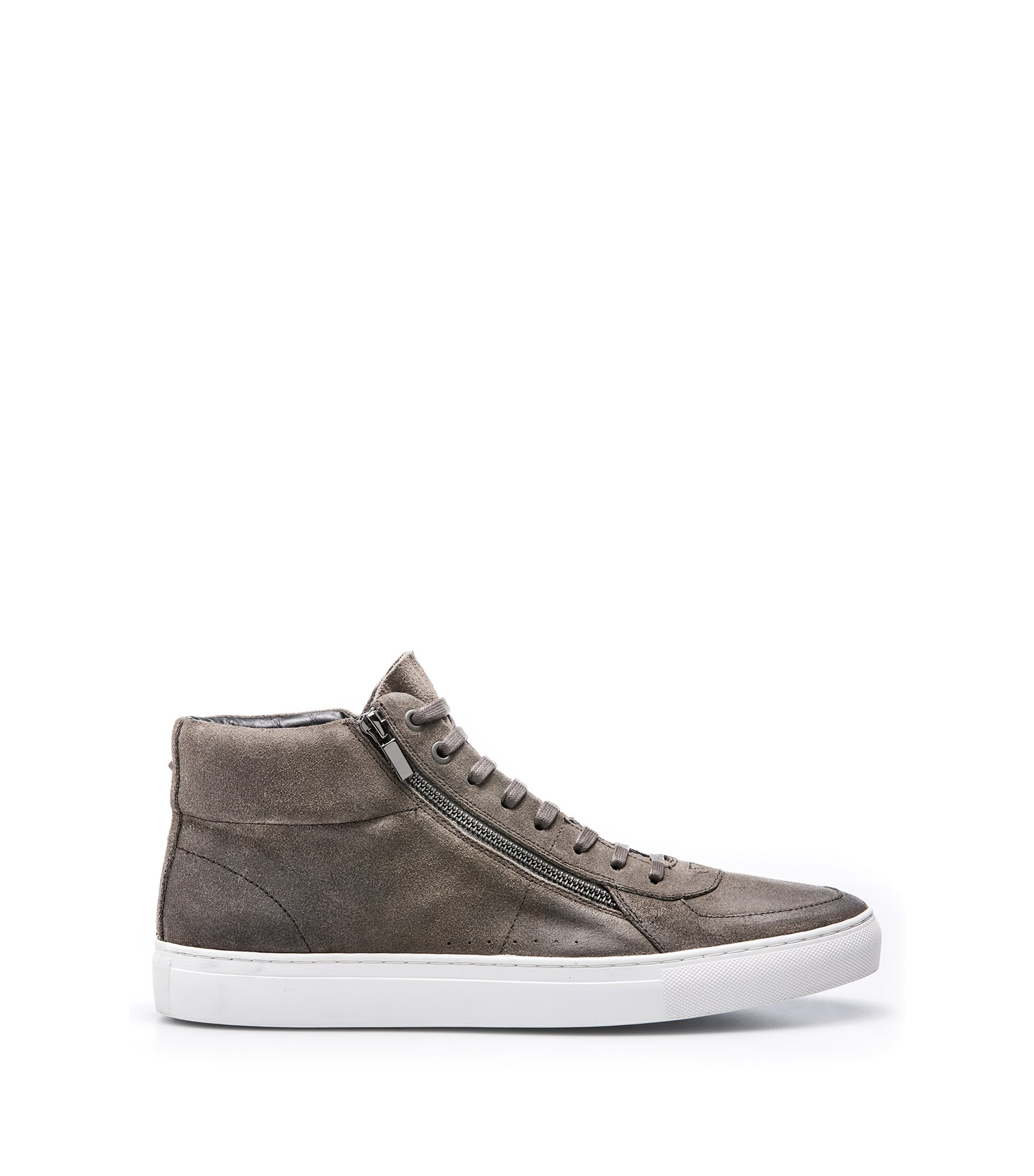 High-top sneakers in waxed suede with double zip, Dark Grey