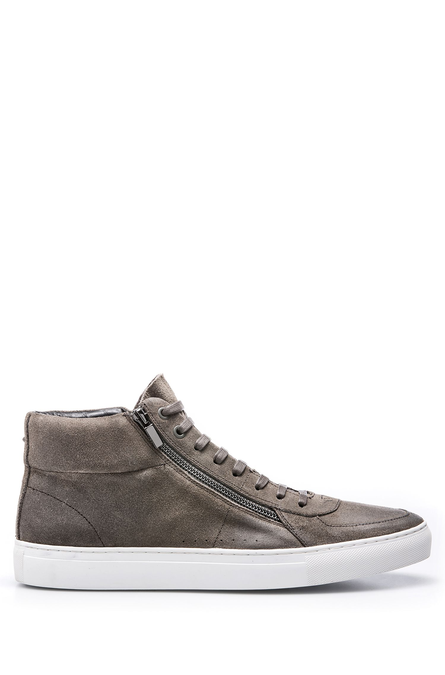 High-top sneakers in waxed suede with double zip