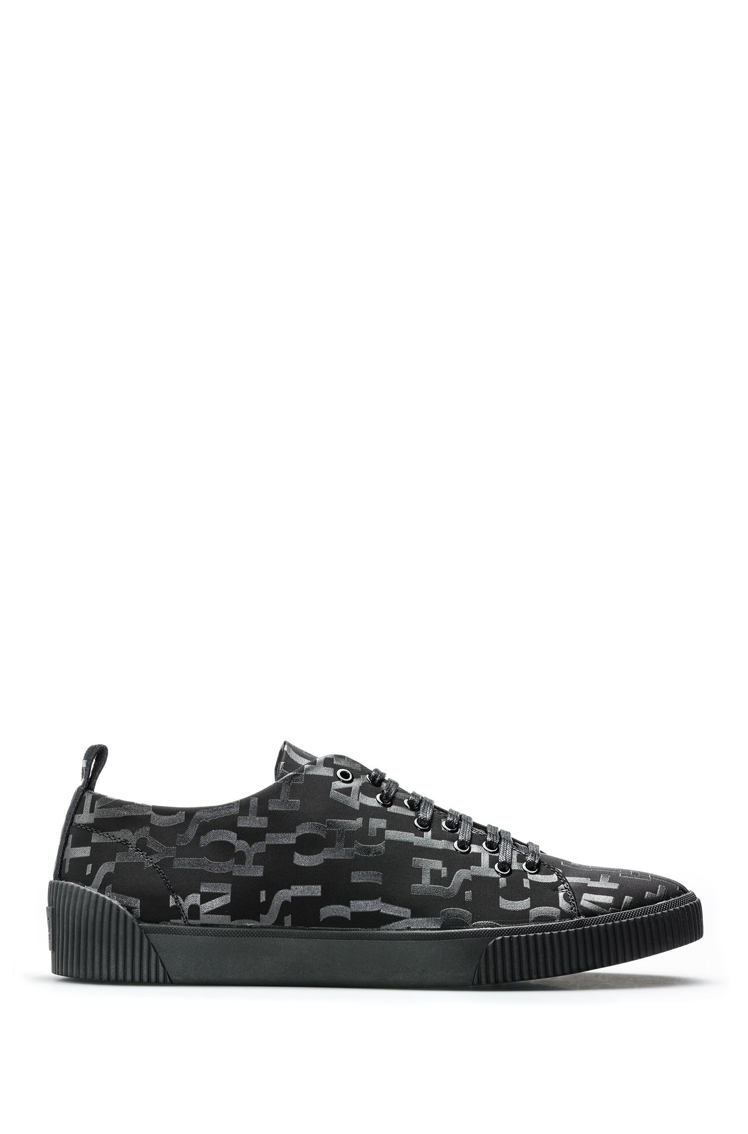 Lace-up sneakers with seasonal-print uppers, Black
