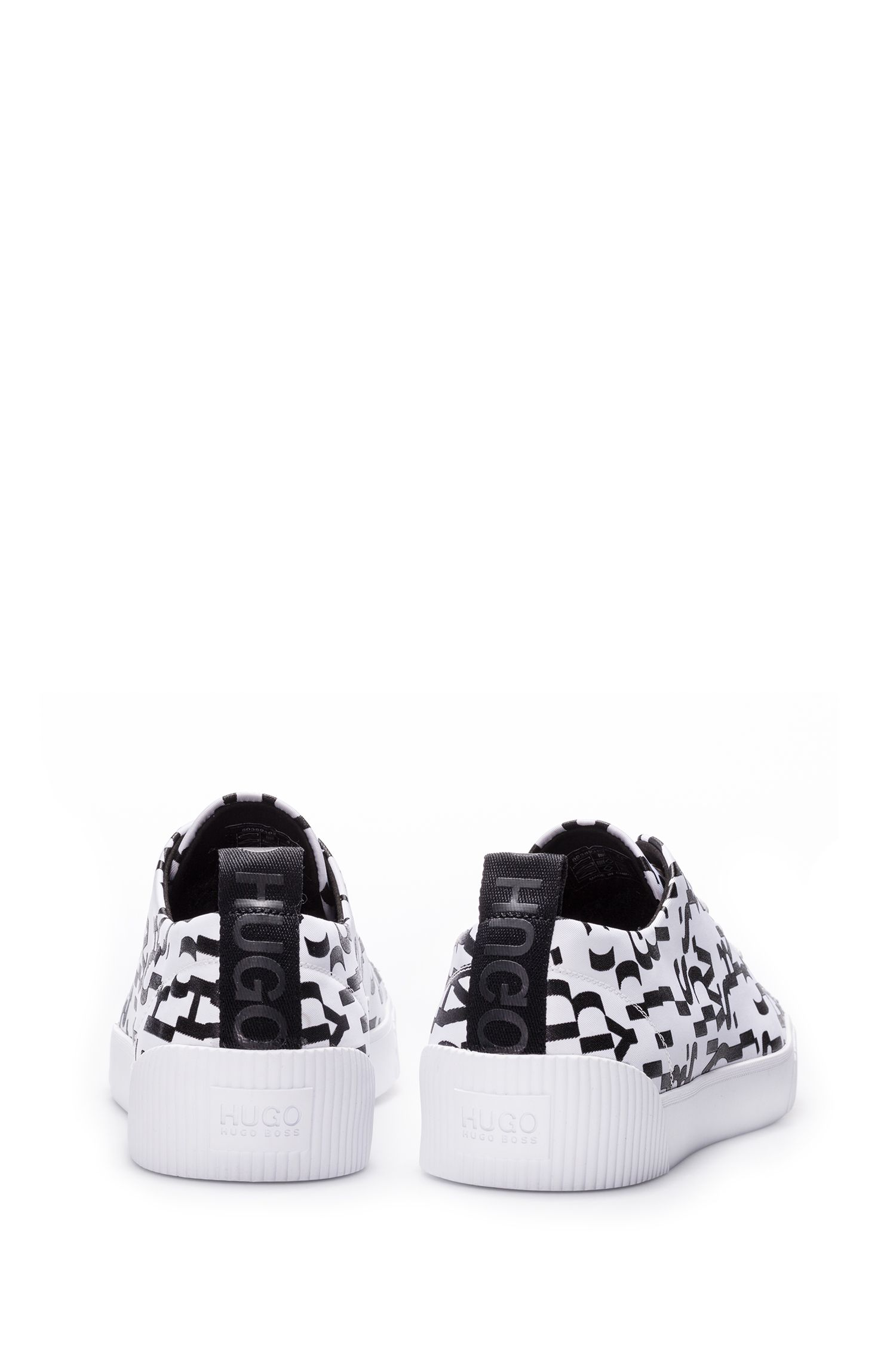 Lace-up sneakers with seasonal-print uppers, White