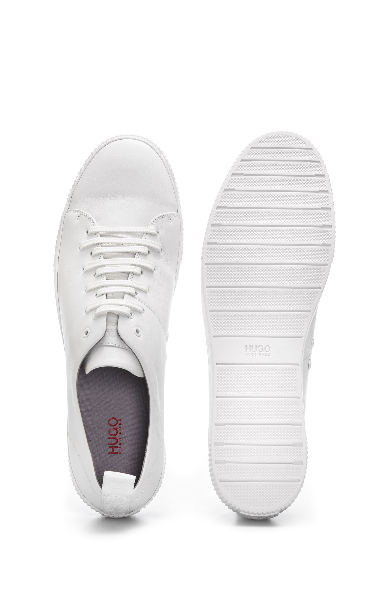 Low-top sneakers in nappa leather with logo detail