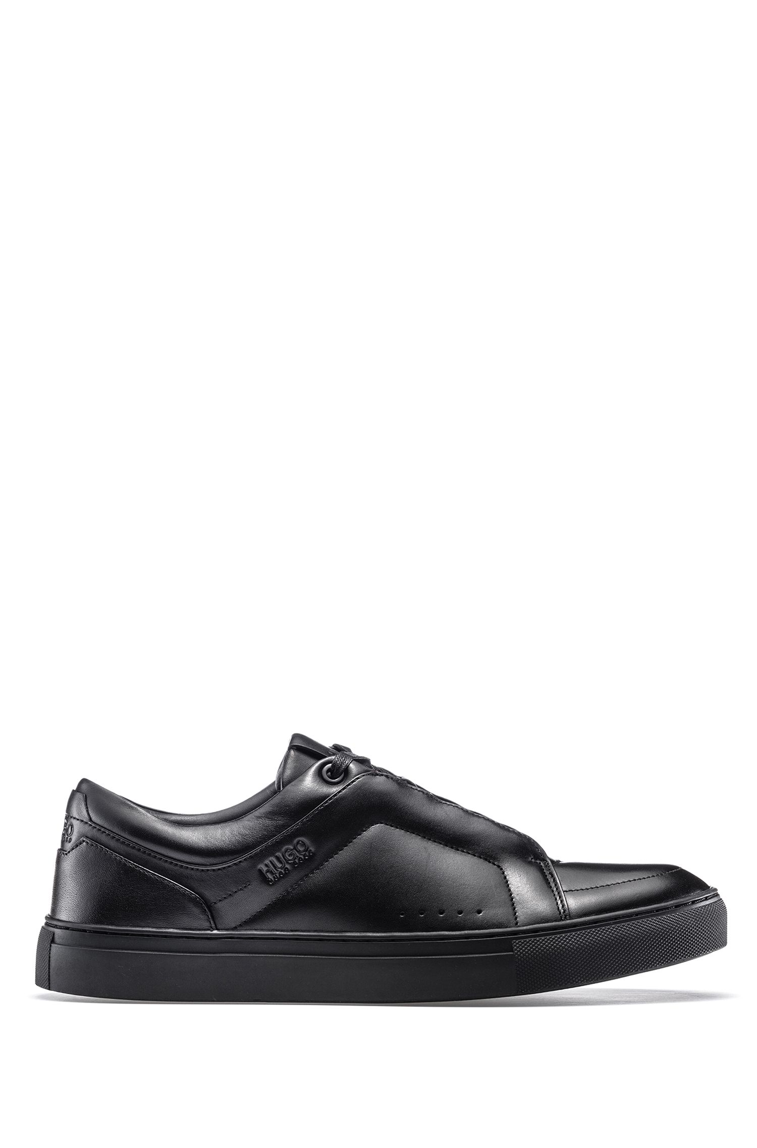 Low-top sneakers in calf leather with lace-up detail, Black