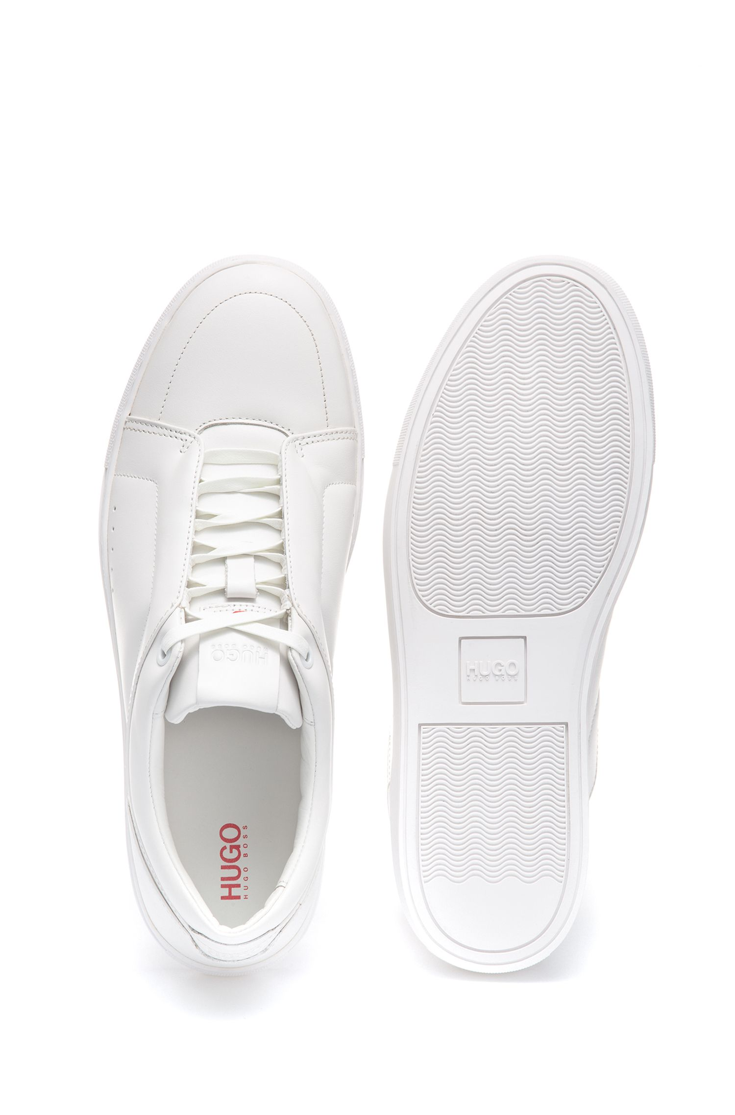 Low-top sneakers in calf leather with lace-up detail, White