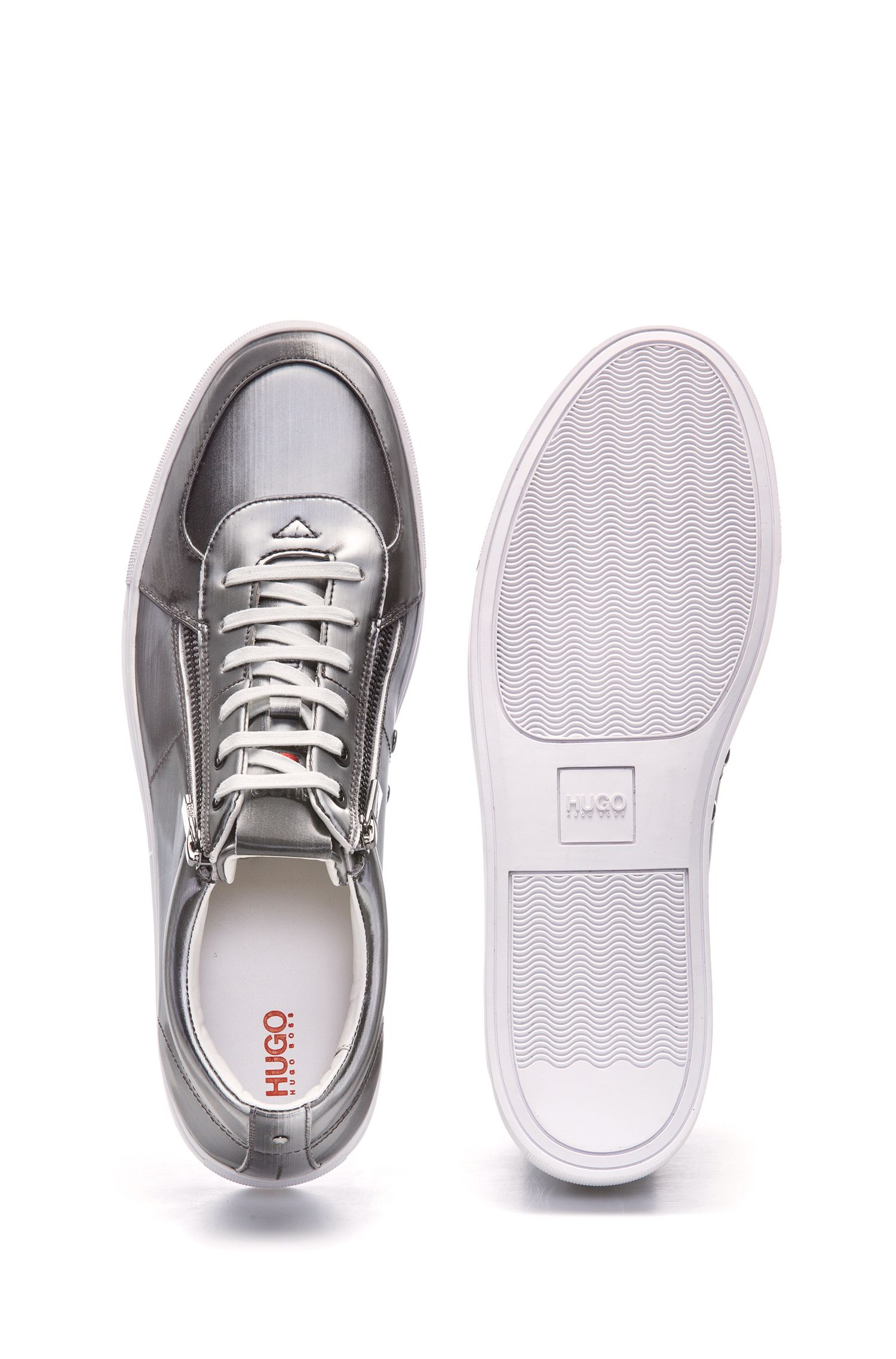 Metallic sneakers with double-zipper detail, Silver