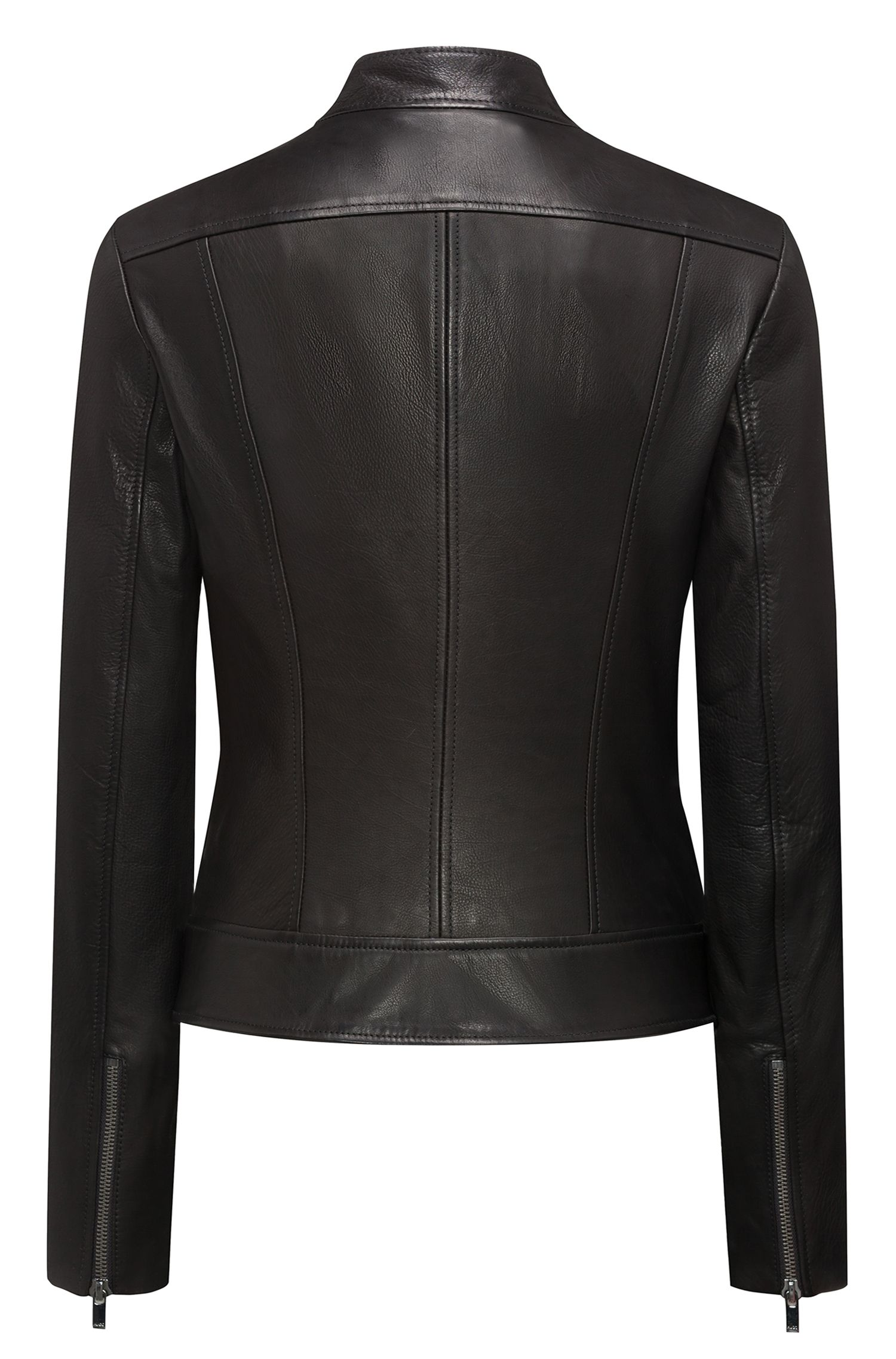 Biker jacket in calfskin leather with press-stud closures