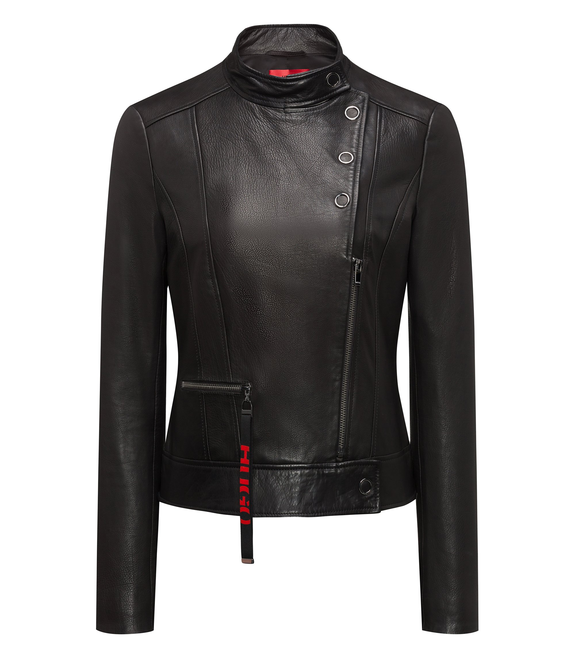 Biker jacket in calfskin leather with press-stud closures, Black