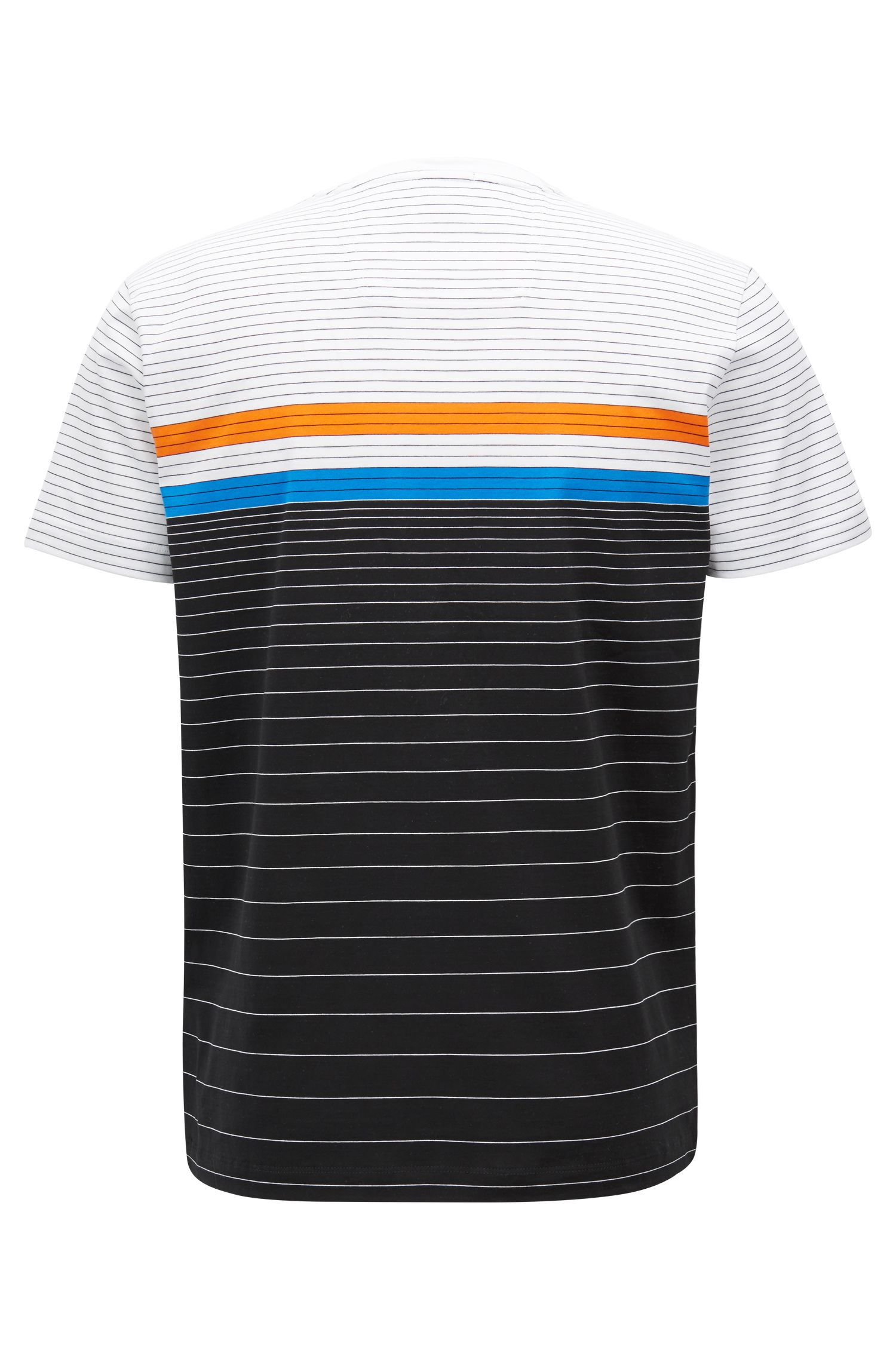 Multi-colored stripe T-shirt in mercerized cotton, Black