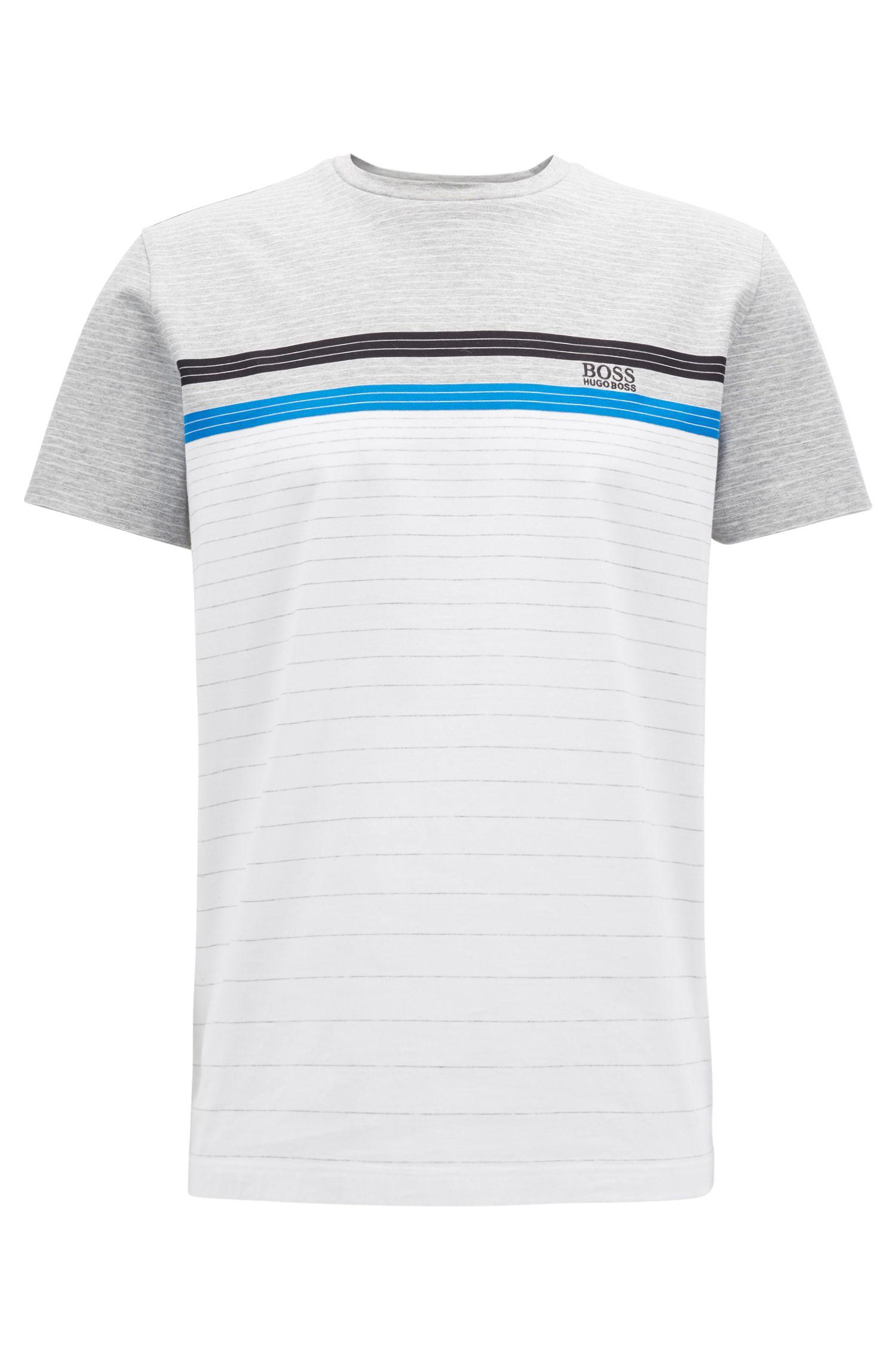 Multi-colored stripe T-shirt in mercerized cotton, White