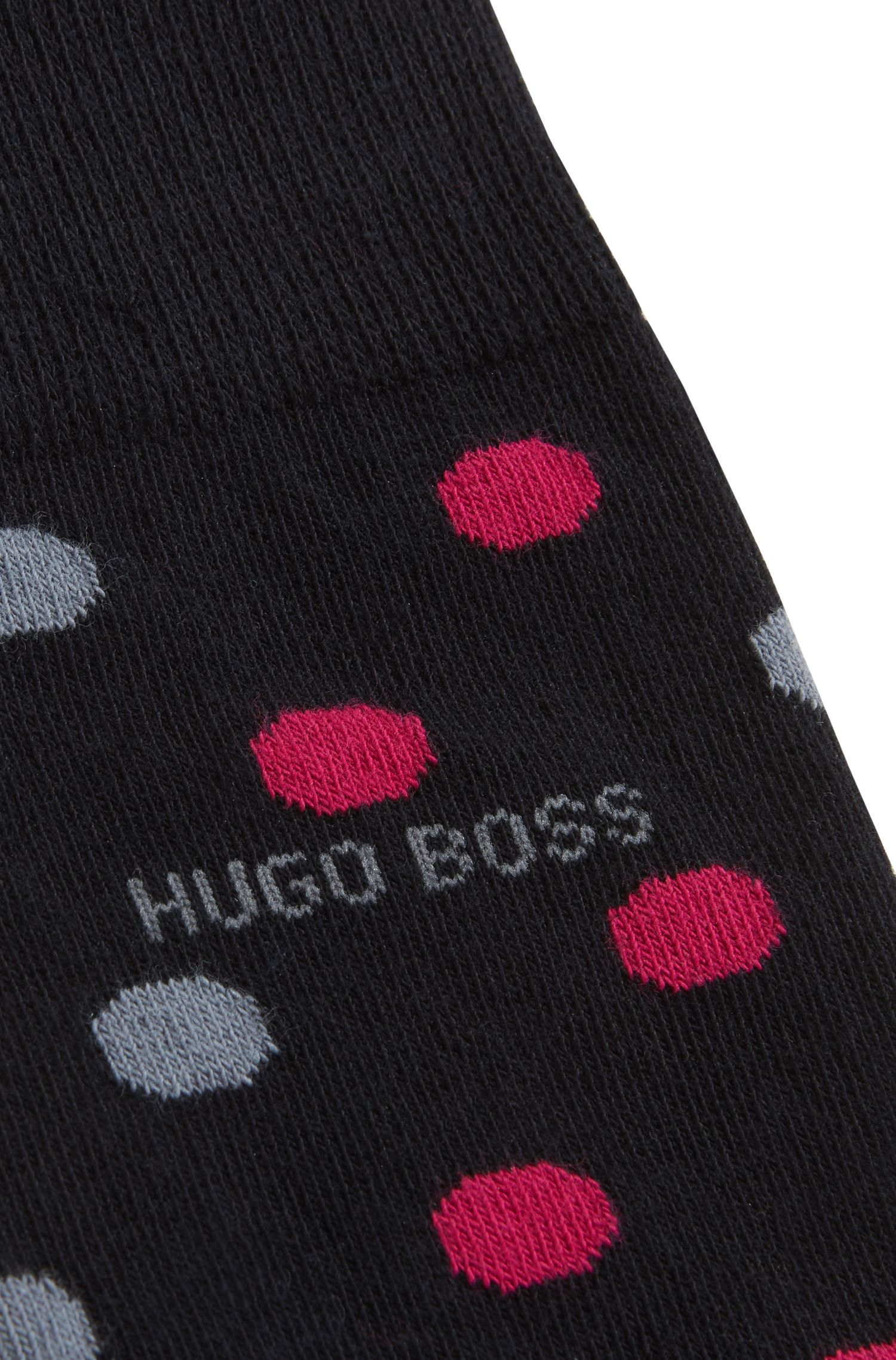 Spotted socks in a combed-cotton blend, Dark Blue