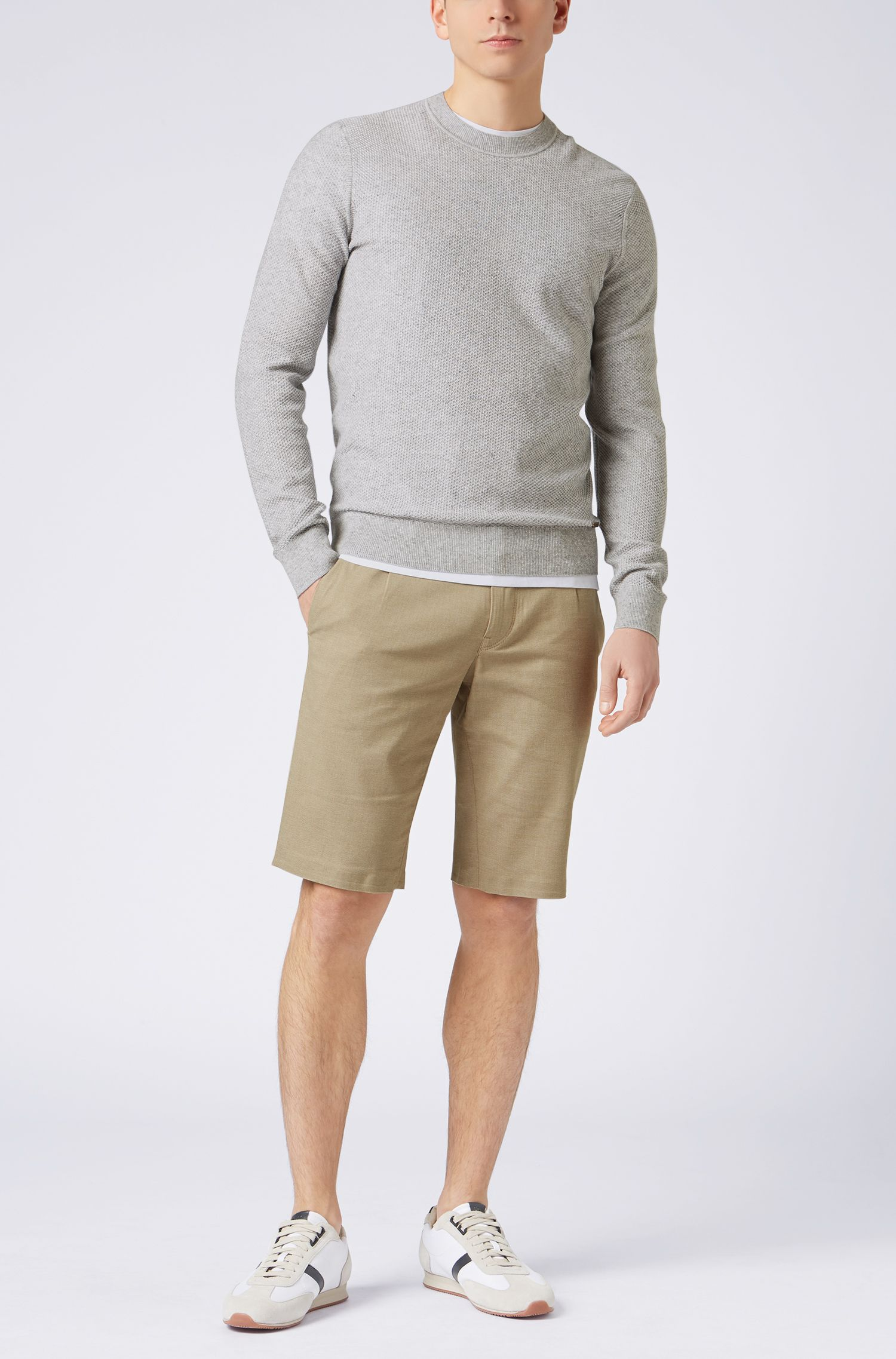 Crew-neck sweater in cotton-blend jacquard, Light Grey