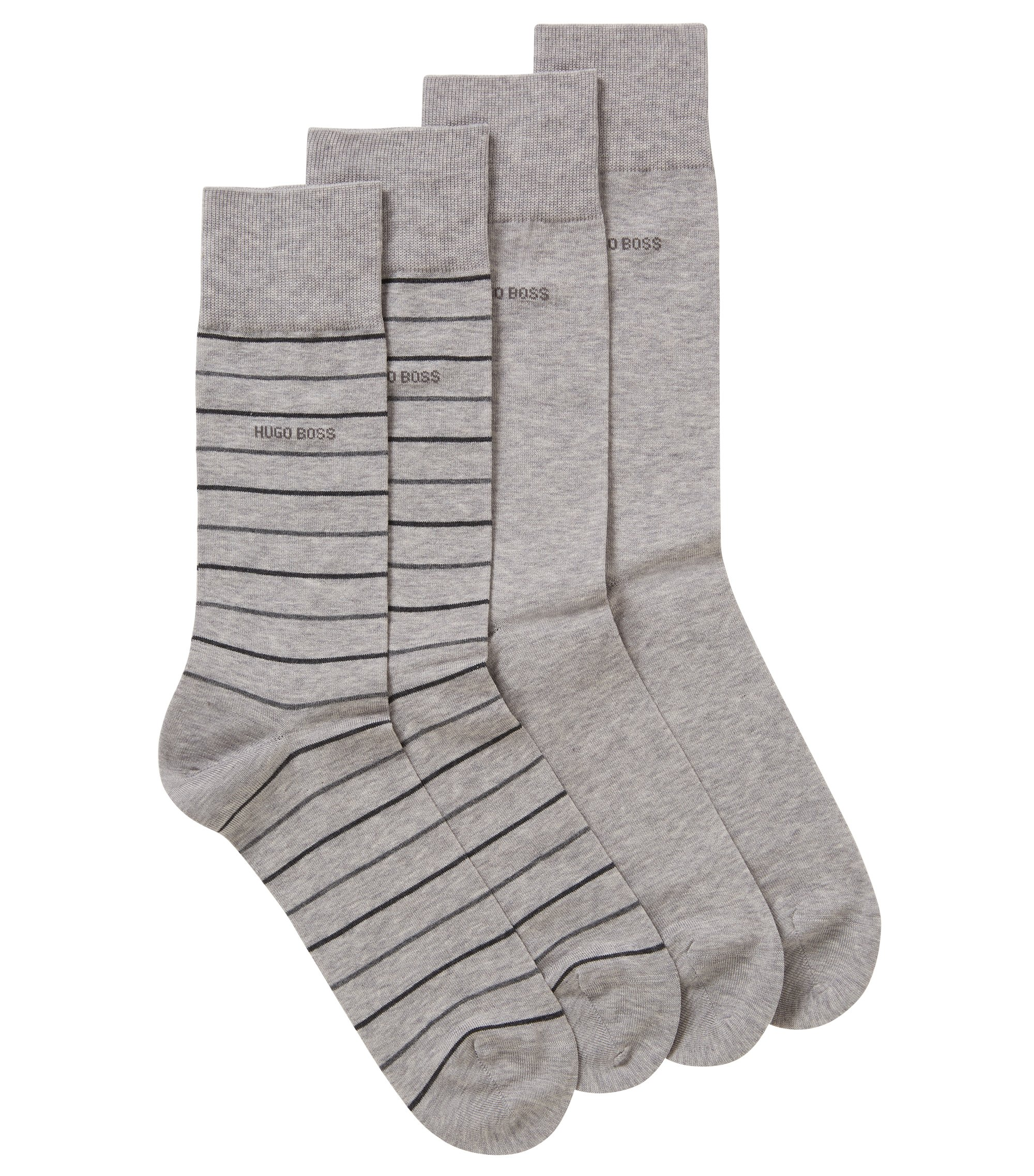 Two-pack of regular-length socks in a mercerized cotton blend, Silver