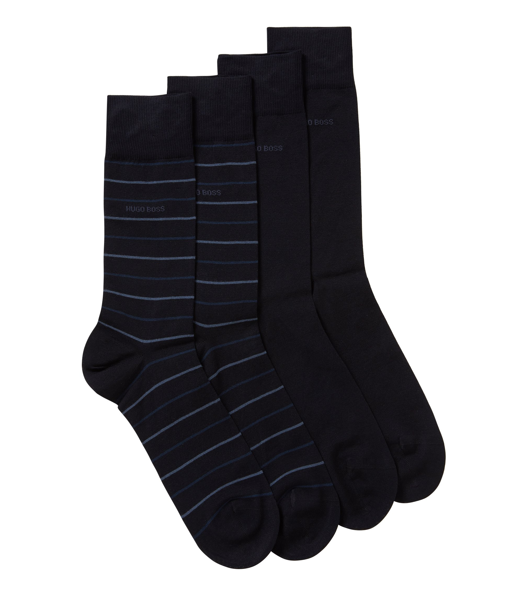 Two-pack of regular-length socks in a mercerized cotton blend, Dark Blue