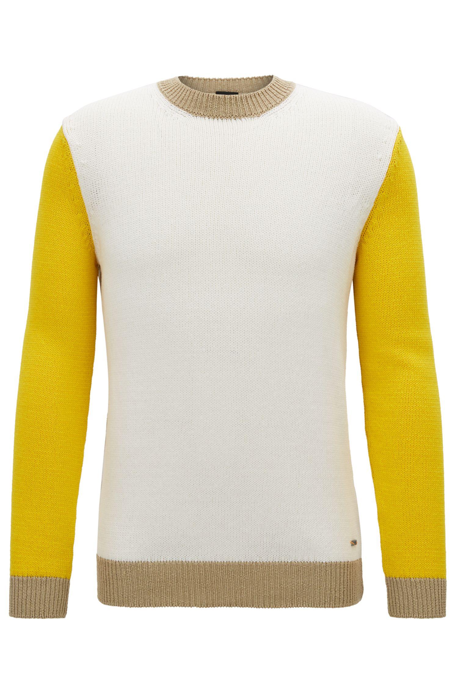 Colorblock crew-neck sweater in mercerized cotton