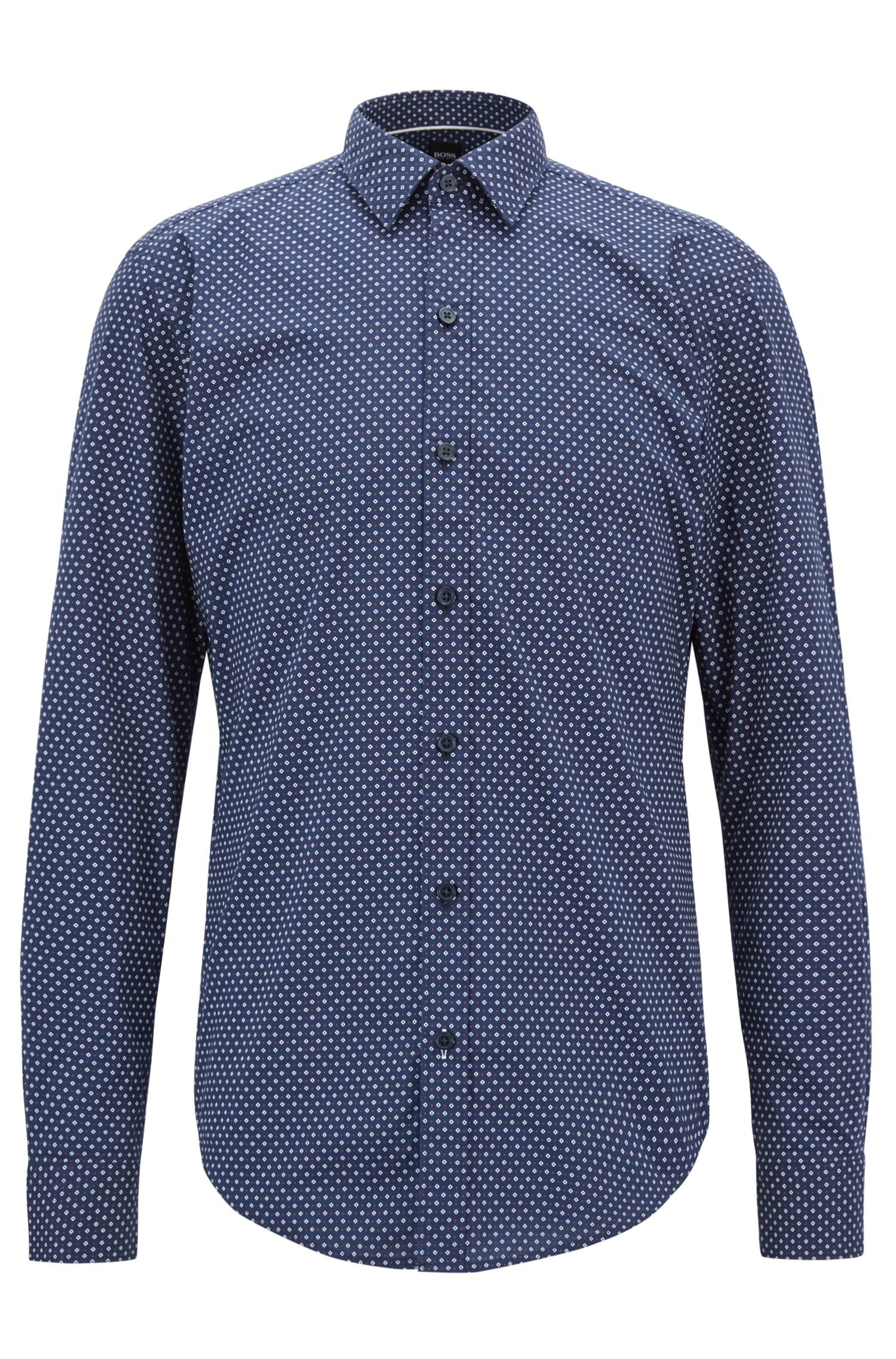 Soft Cotton Shirt, Sharp Fit | Robbie, Dark Blue