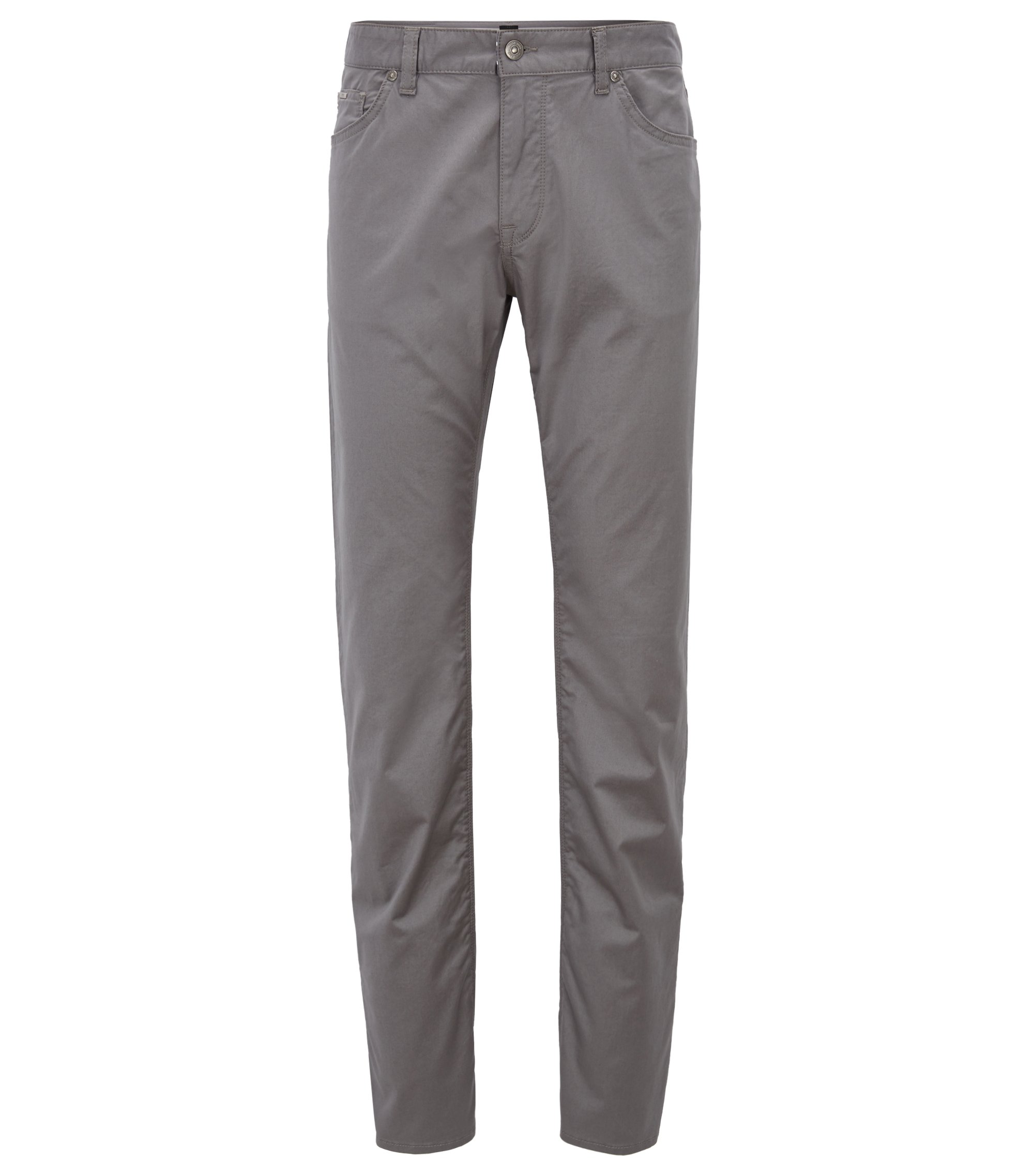 Regular-fit jeans in satin-finish stretch cotton, Open Grey