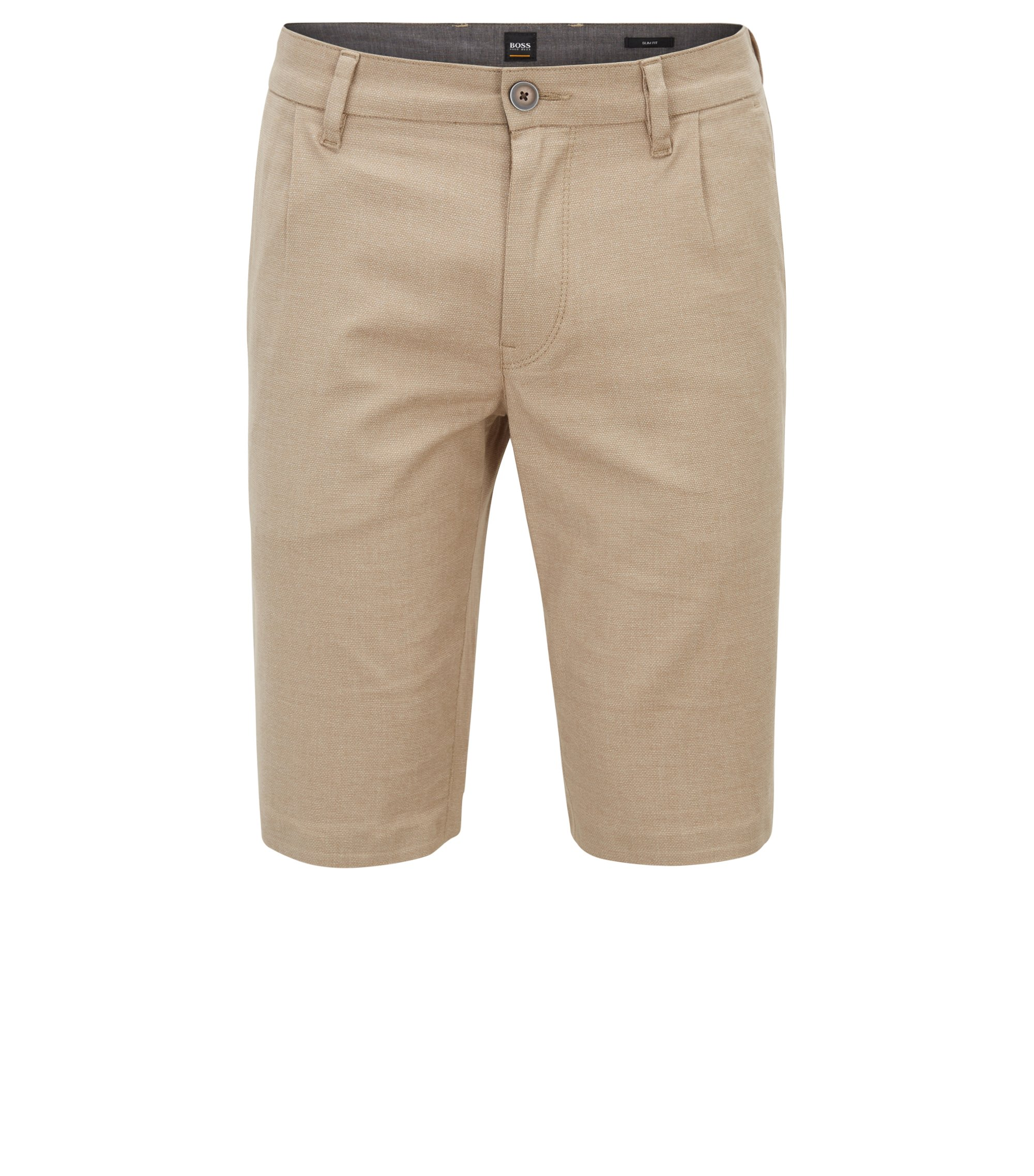 Slim-fit shorts in two-tone melange stretch cotton, Beige