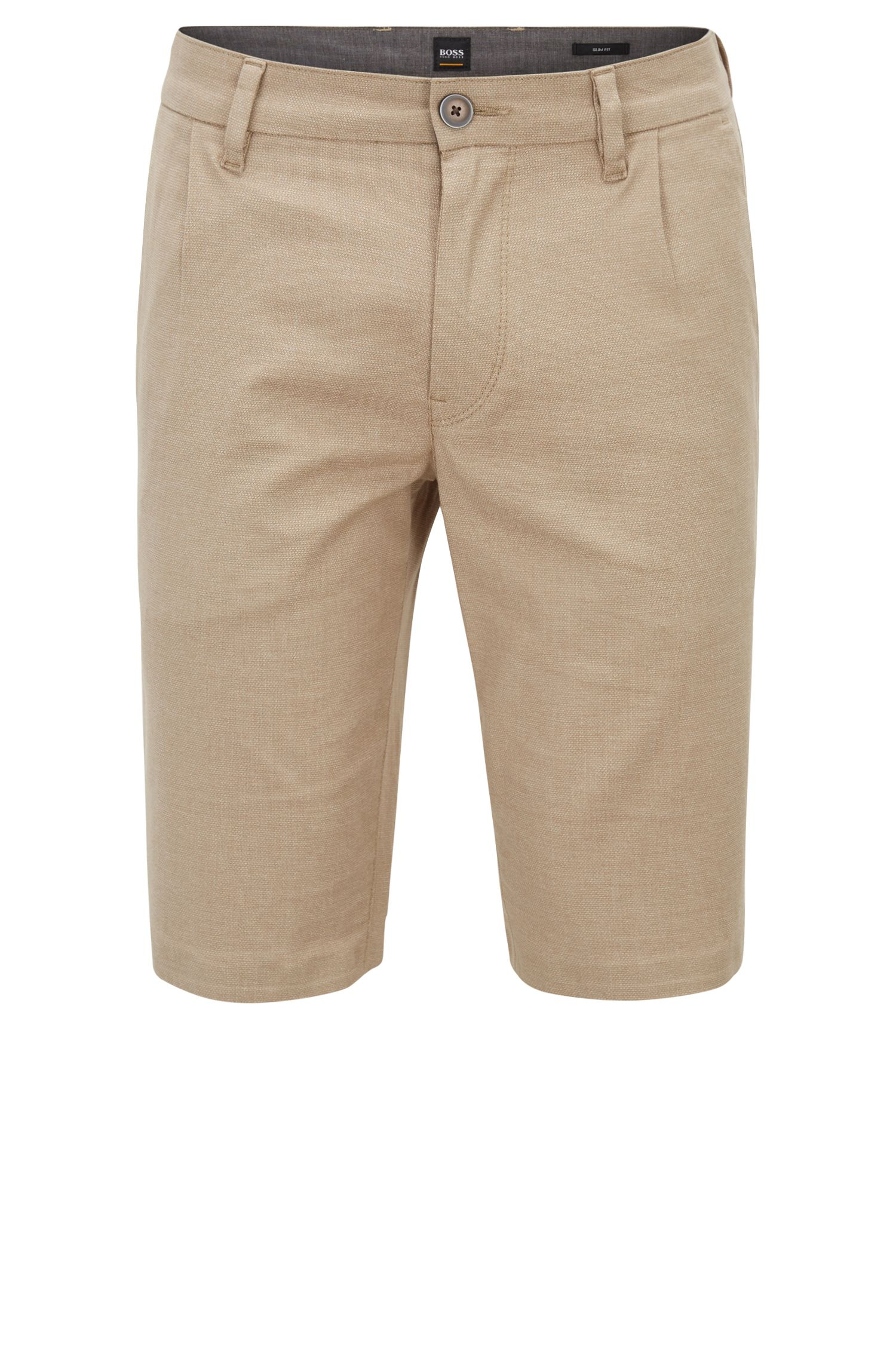 Slim-fit shorts in two-tone melange stretch cotton
