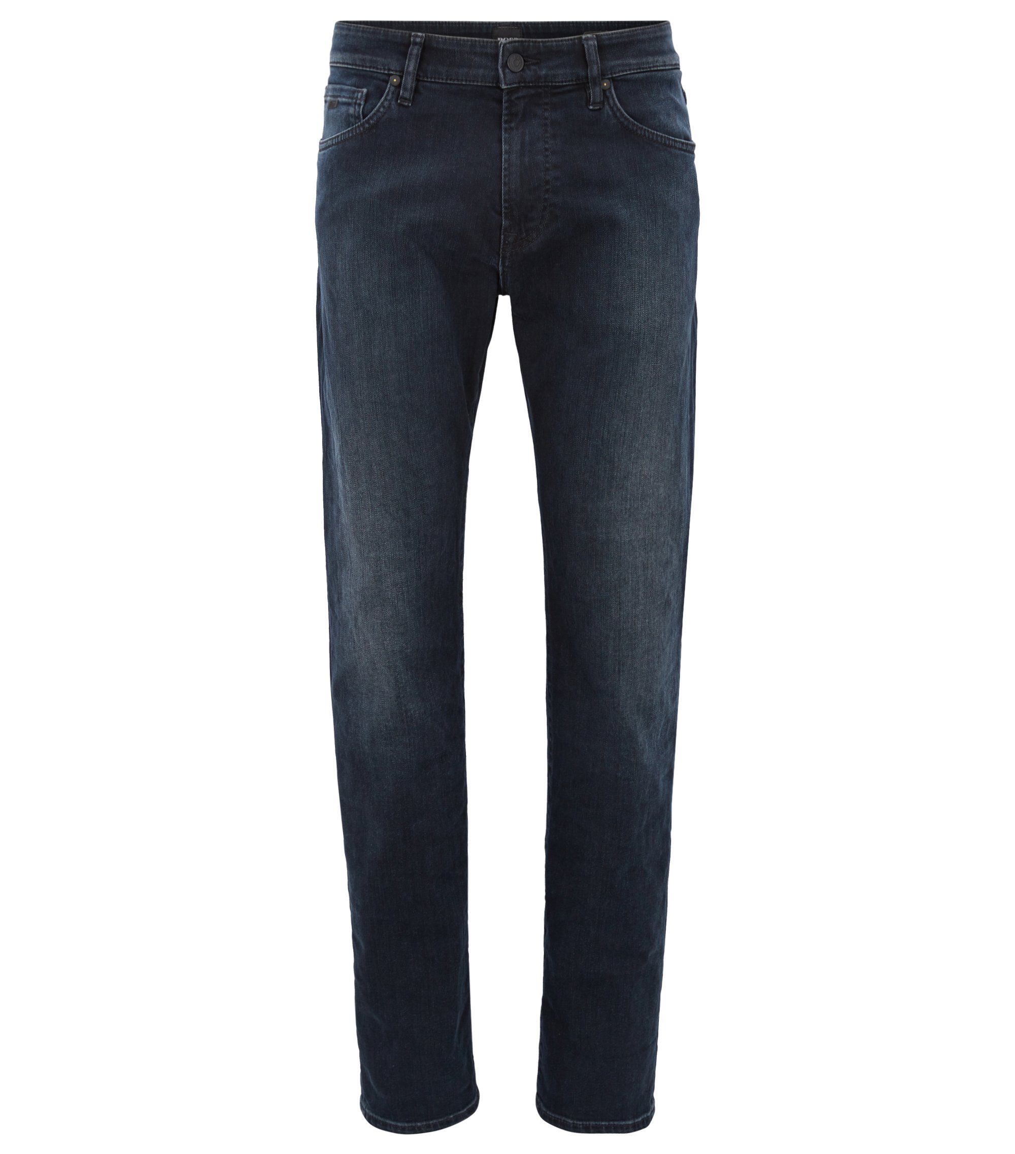 Regular-fit jeans in overdyed blue-black stretch denim, Dark Blue