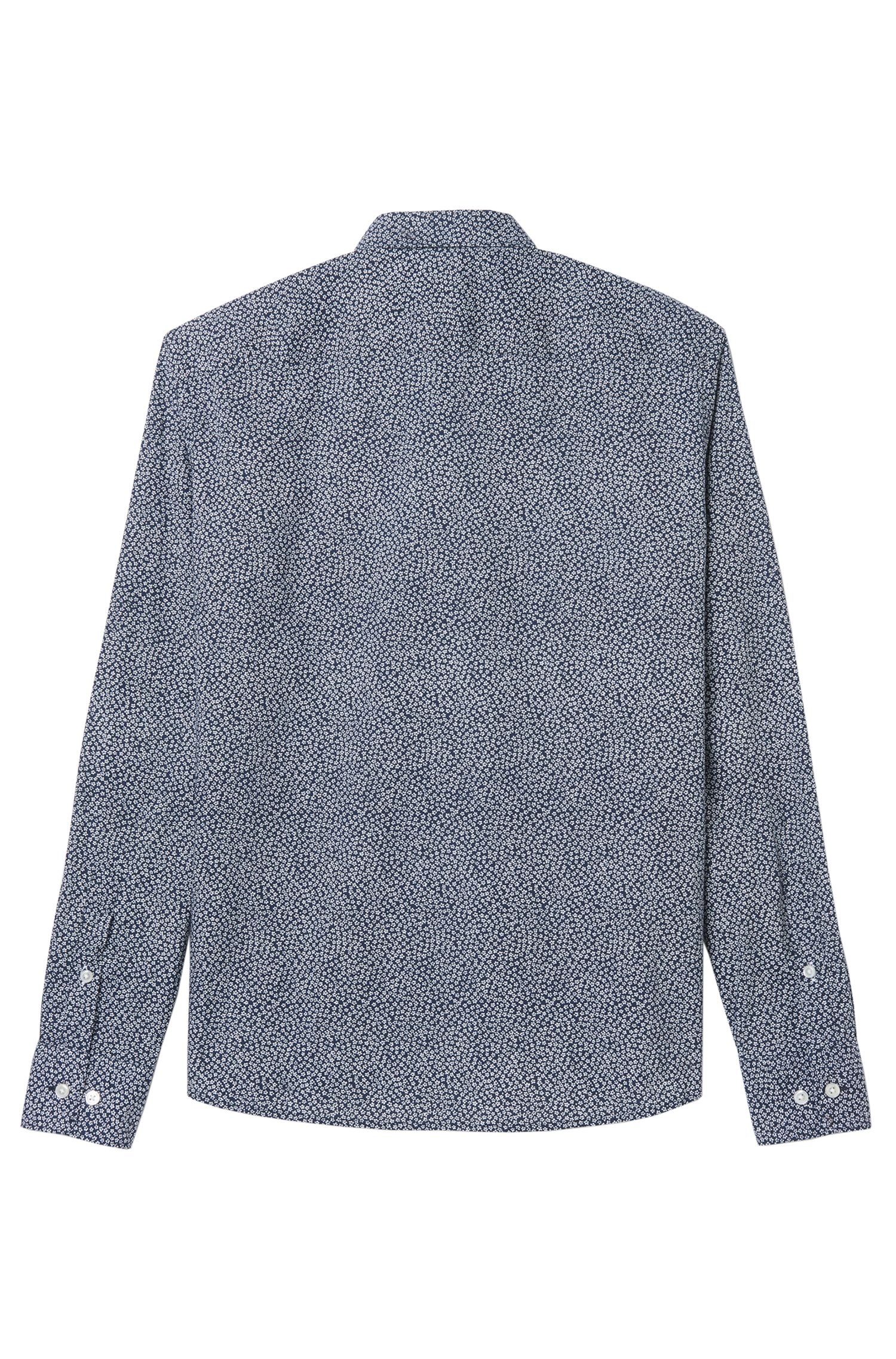 Cotton Flower Print Sport Shirt, Slim Fit | Reid