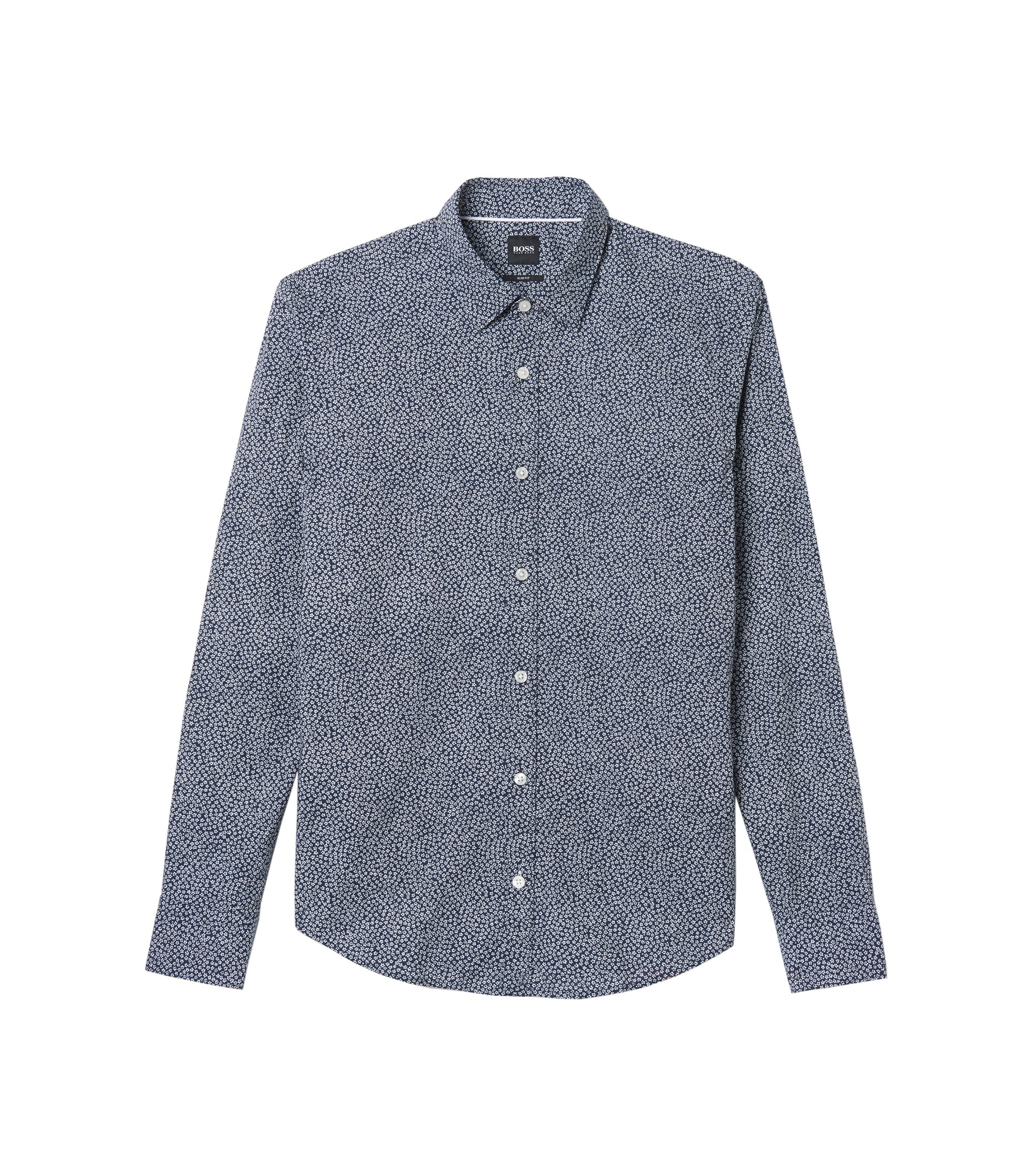Cotton Flower Print Sport Shirt, Slim Fit | Reid, Dark Blue