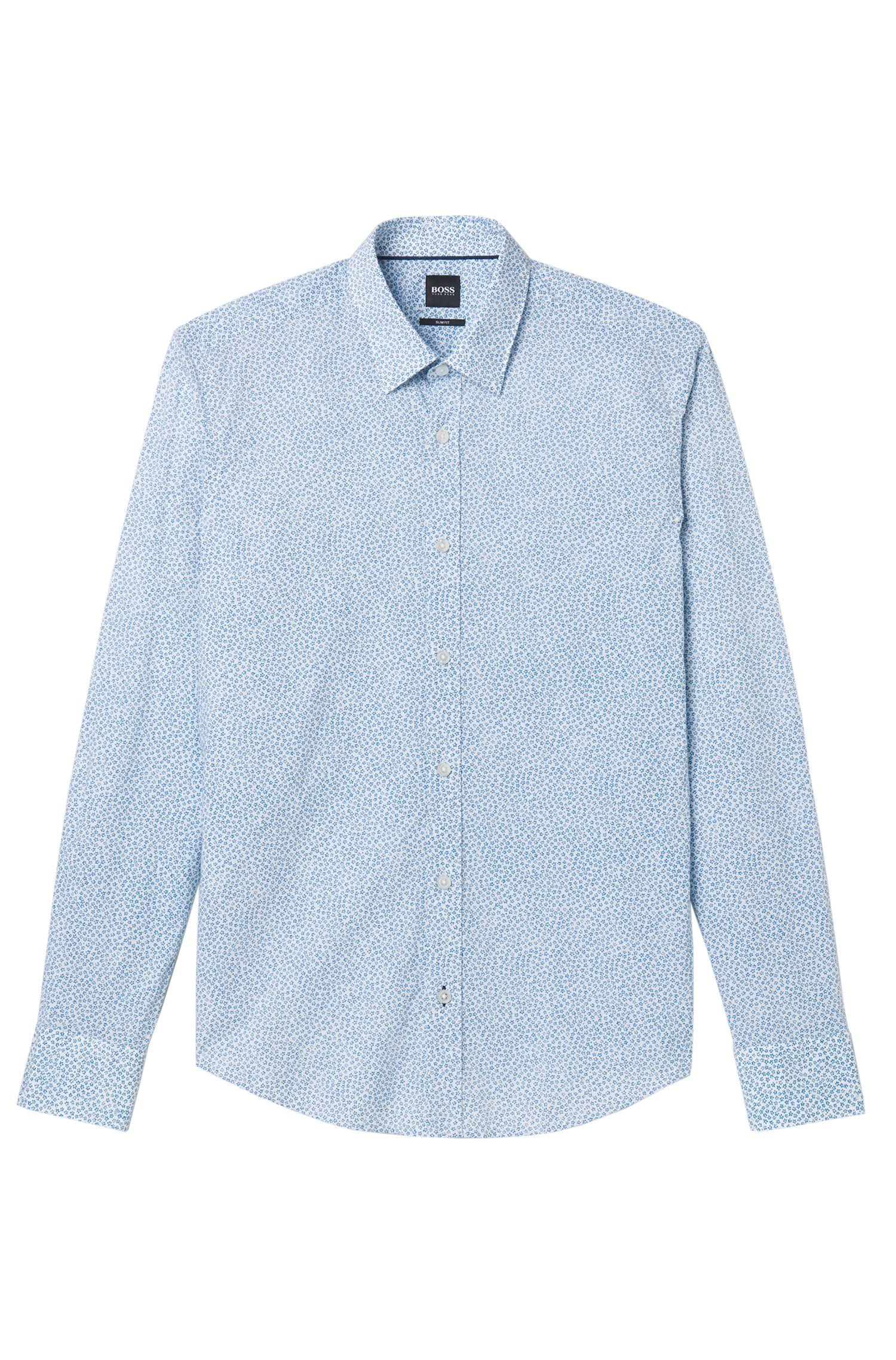 Cotton Flower Print Sport Shirt, Slim Fit | Reid, Turquoise