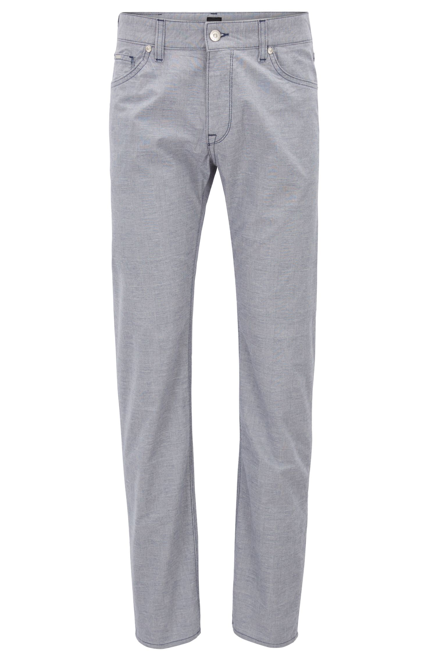 Regular-fit jeans in Glen-check stretch cotton, Open Blue