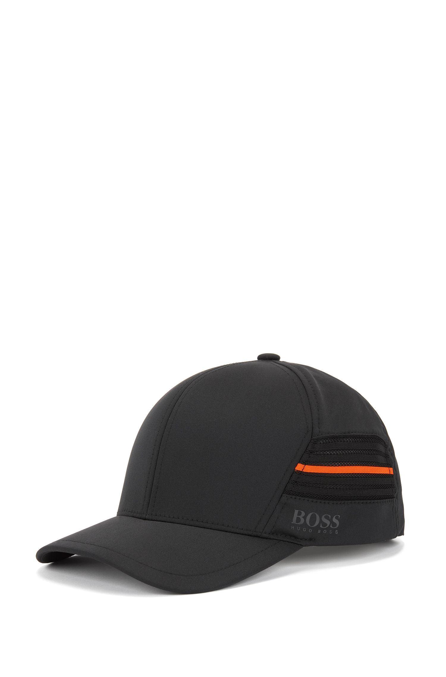 Water-repellent cap in micro-structured stretch twill, Black