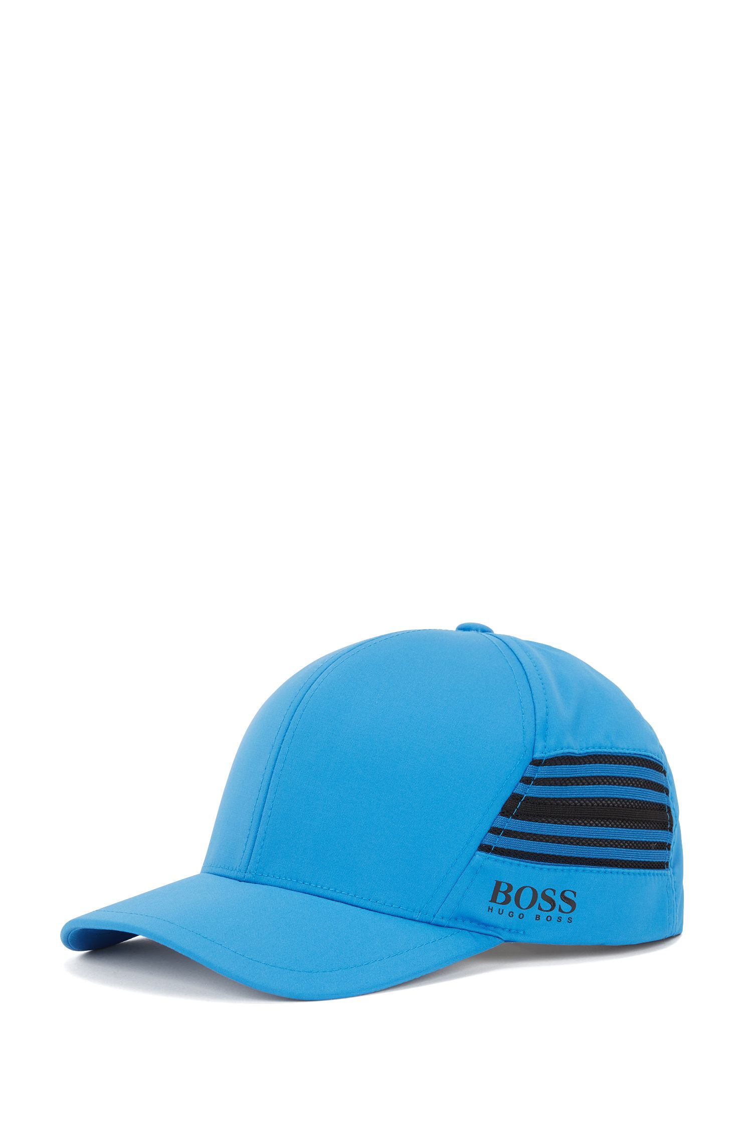 Water-repellent cap in micro-structured stretch twill, Blue